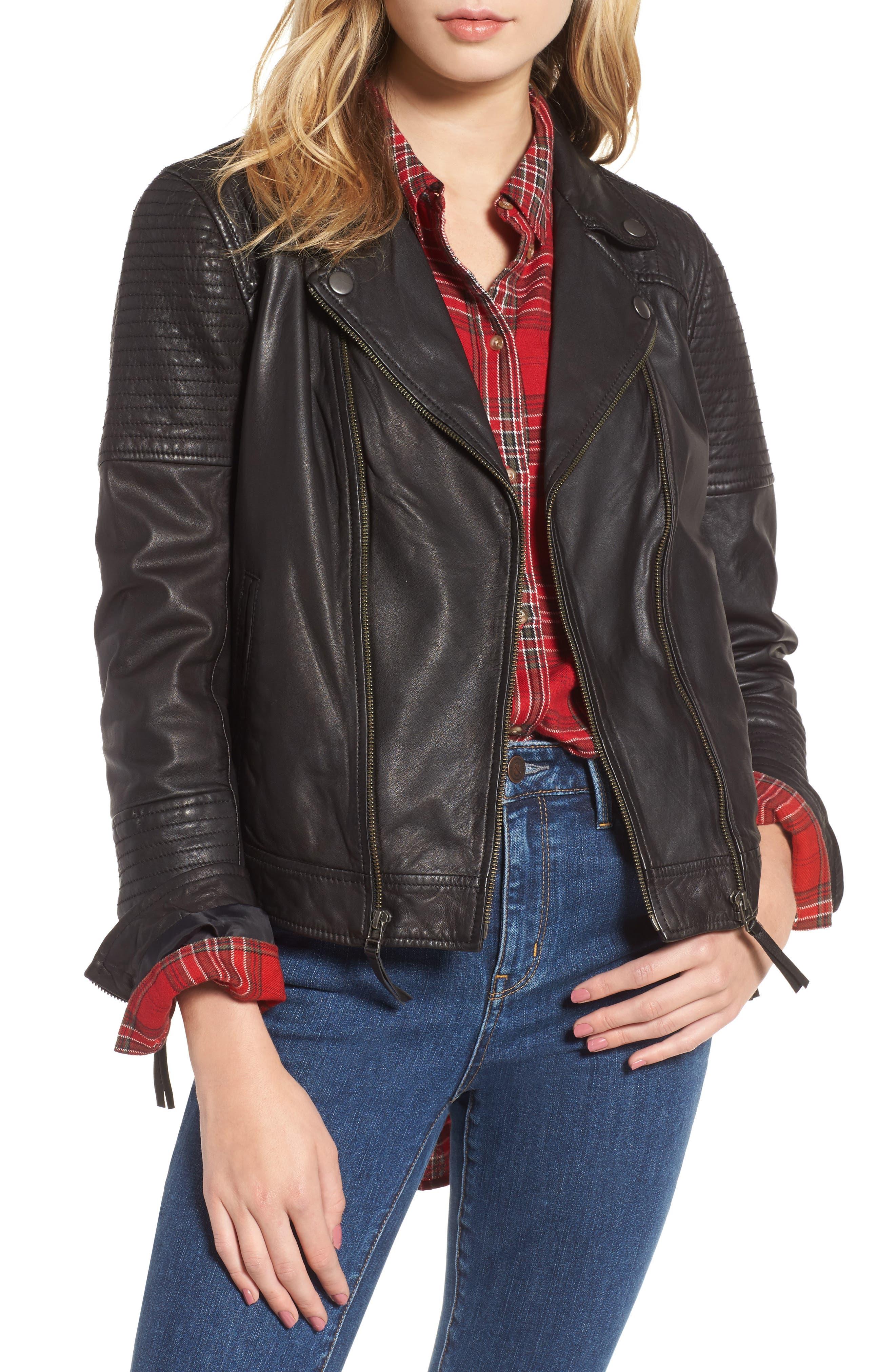 Treasure & Bond Quilted Leather Moto Jacket