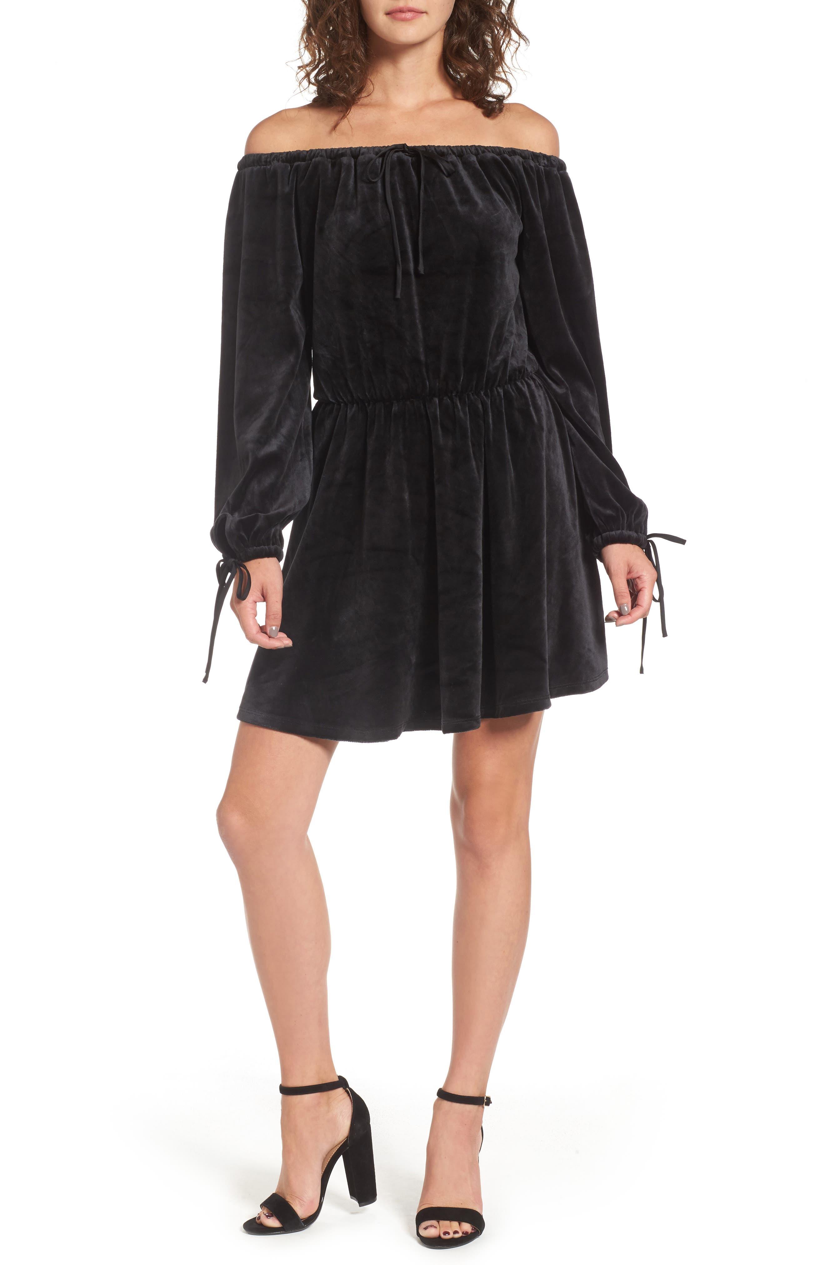 Track Off the Shoulder Velour Dress,                         Main,                         color, Pitch Black