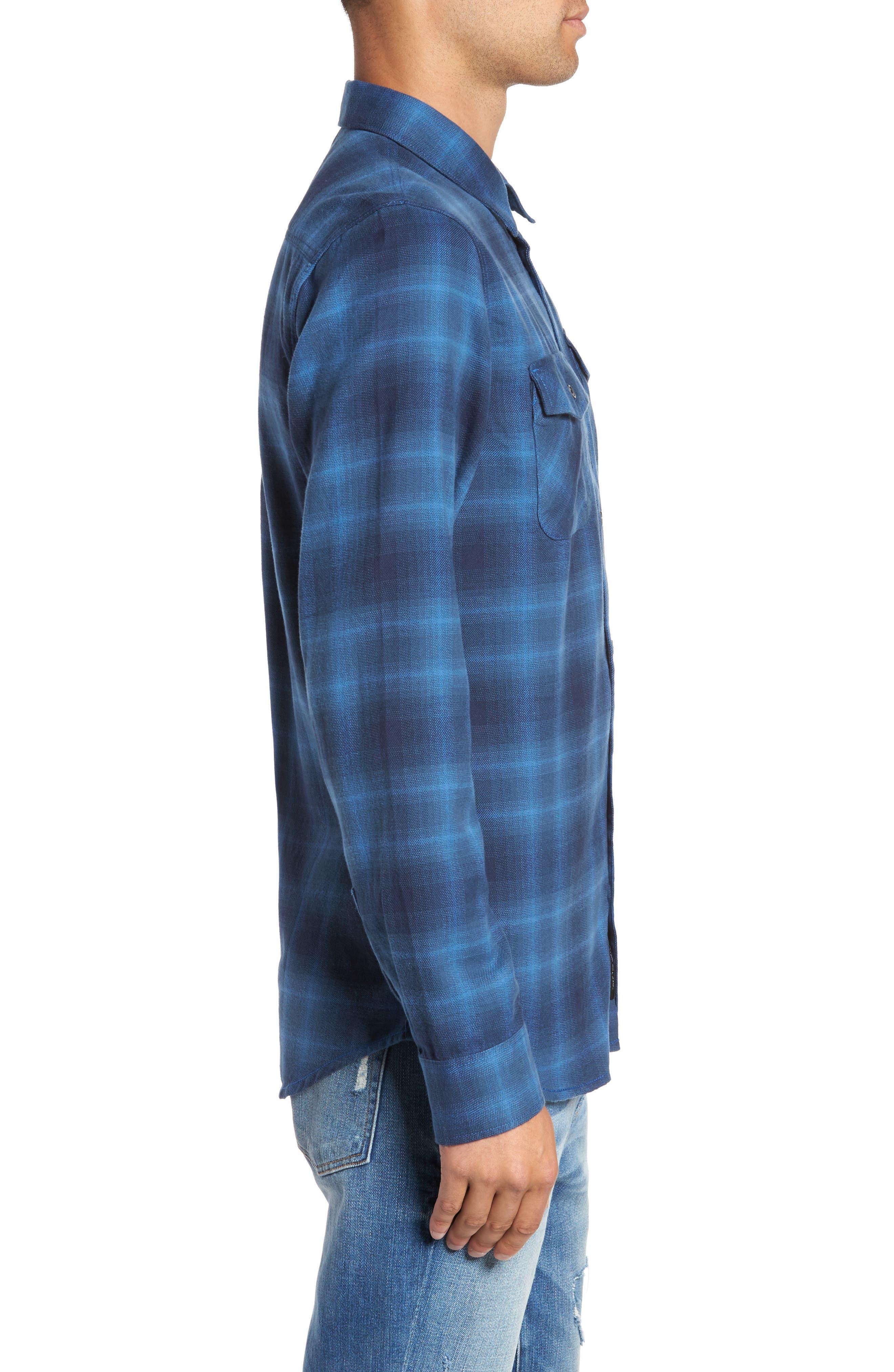Monterey II Plaid Flannel Sport Shirt,                             Alternate thumbnail 3, color,                             Delft