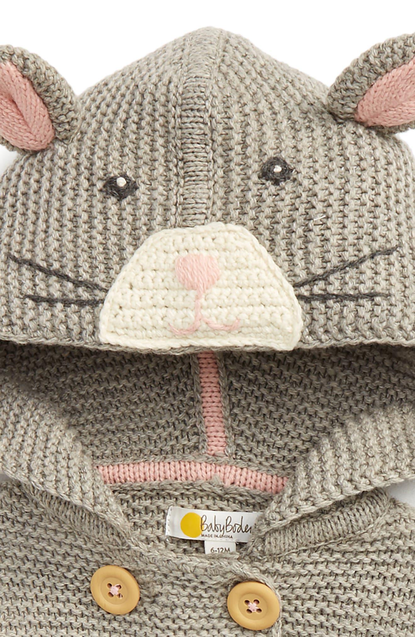 Fun Animal Knit Jacket,                             Alternate thumbnail 2, color,                             Grey Marl Mouse