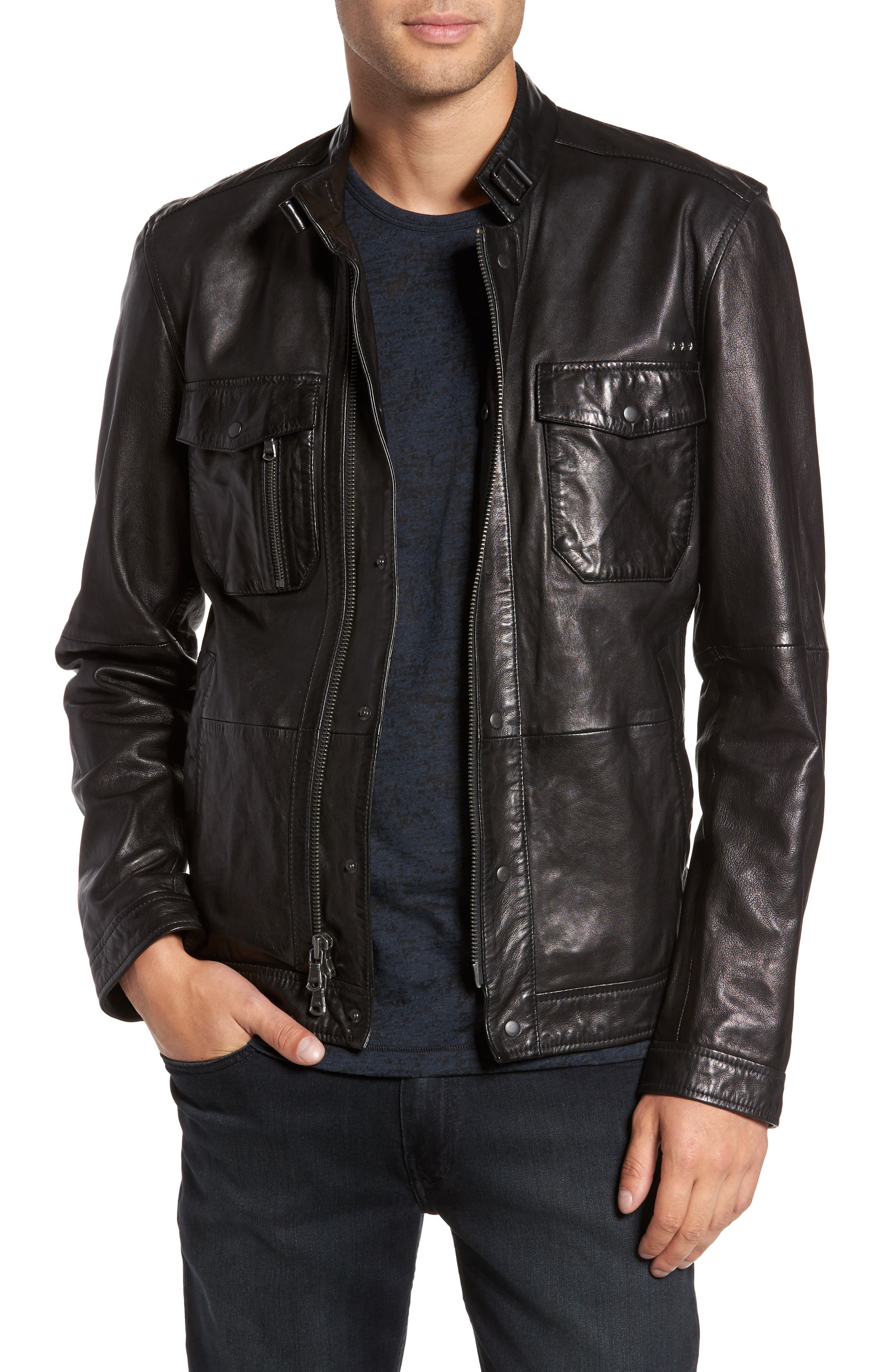 John Varvatos Star USA Leather Zip Front Jacket