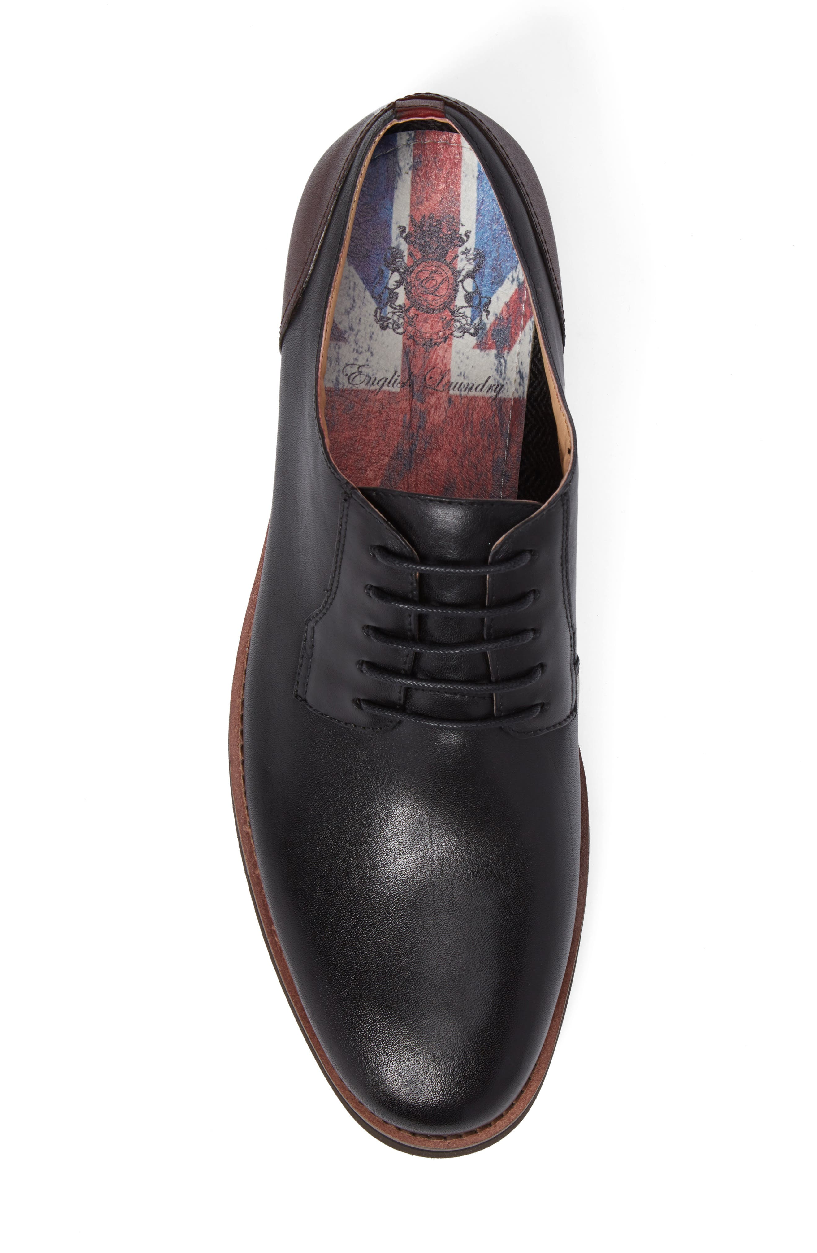 Saxon Plain Toe Derby,                             Alternate thumbnail 5, color,                             Black Leather