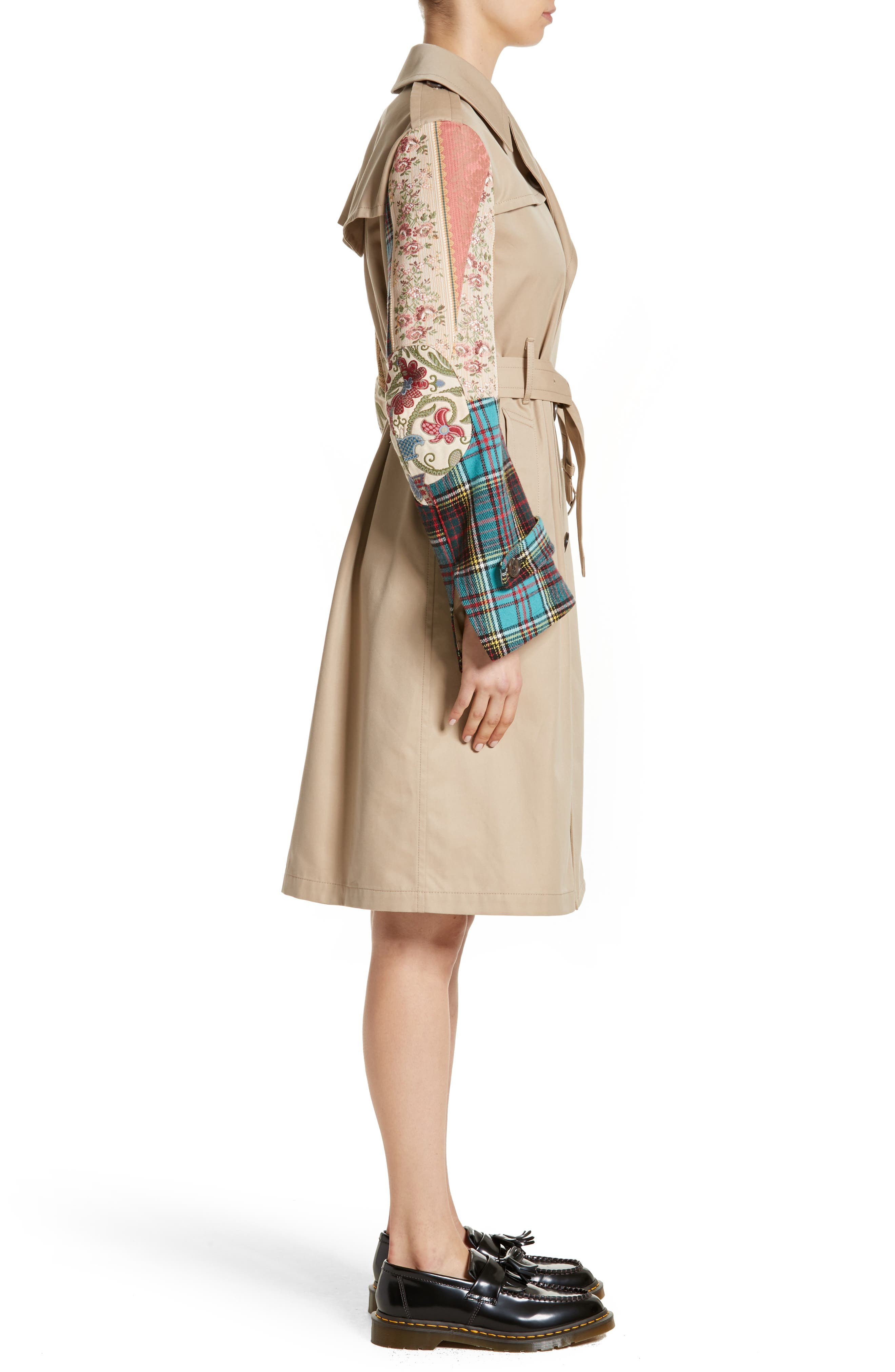 Patterned Sleeve Trench Coat,                             Alternate thumbnail 4, color,                             Beige X Mix