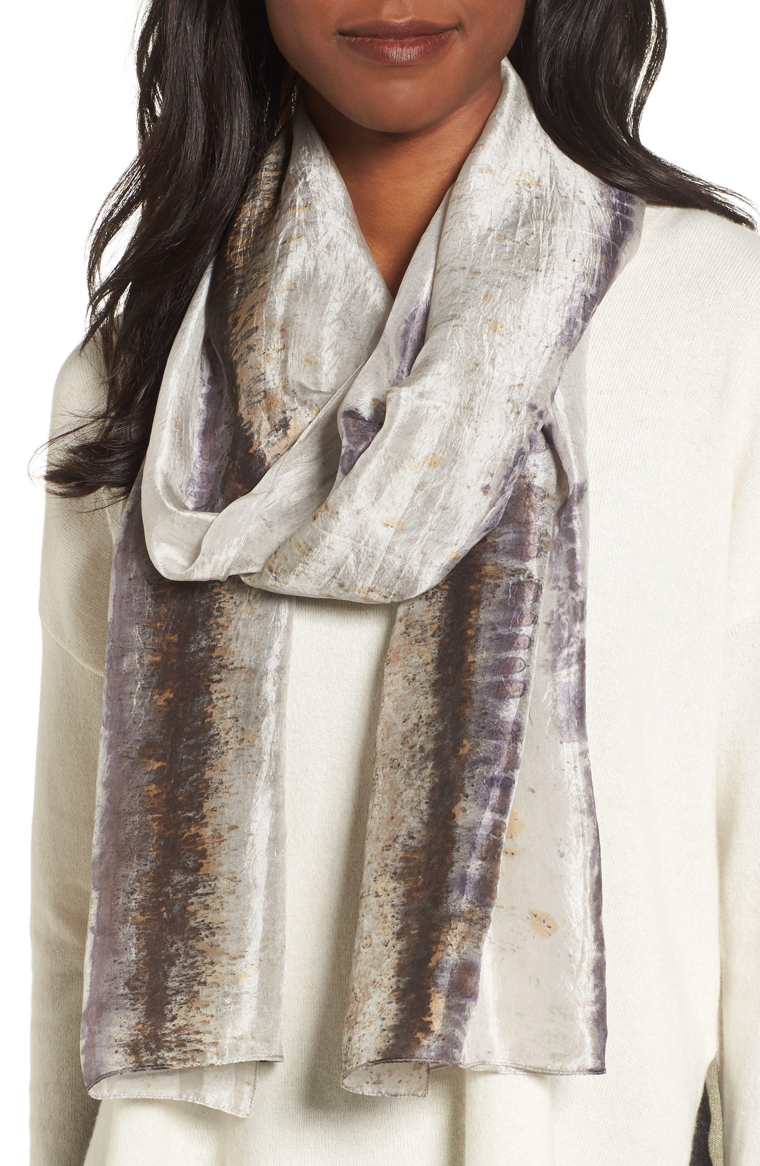 Main Image - Eileen Fisher Stripe Silk Scarf