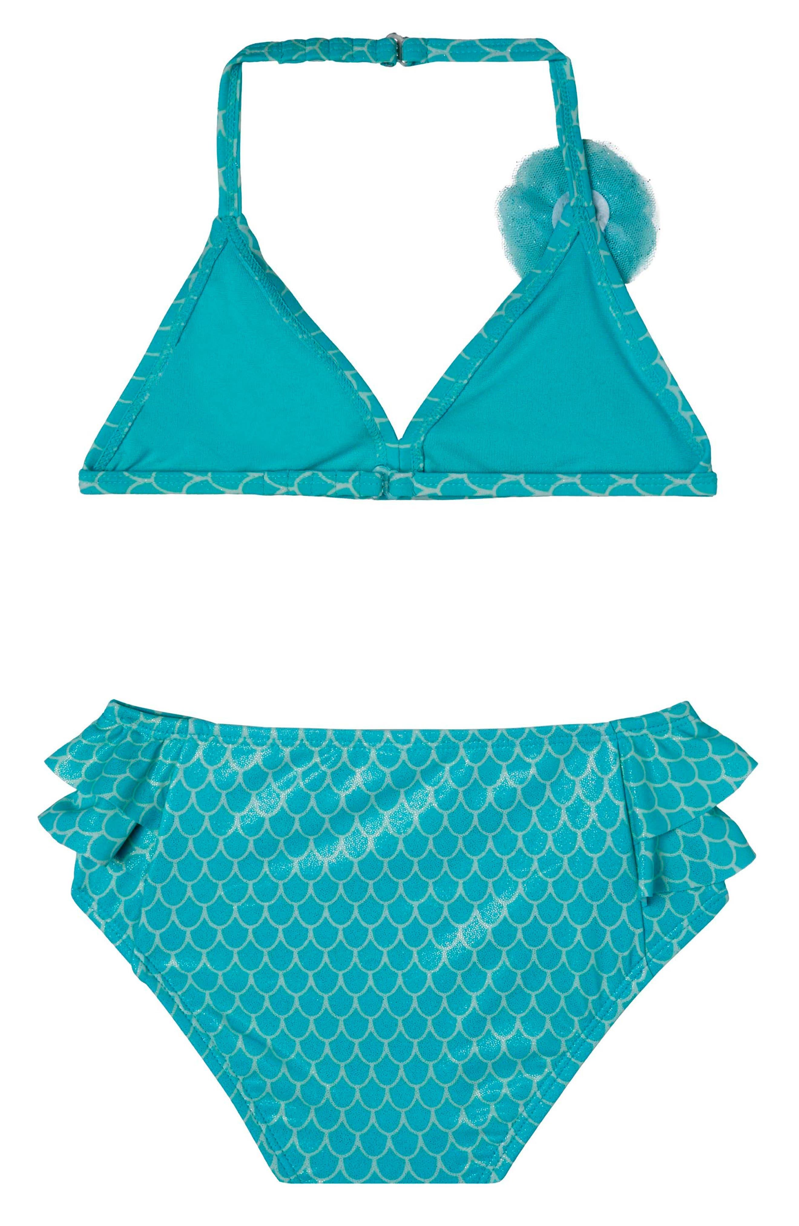 Mermaid Princess Two-Piece Swimsuit,                             Alternate thumbnail 2, color,                             Aqua