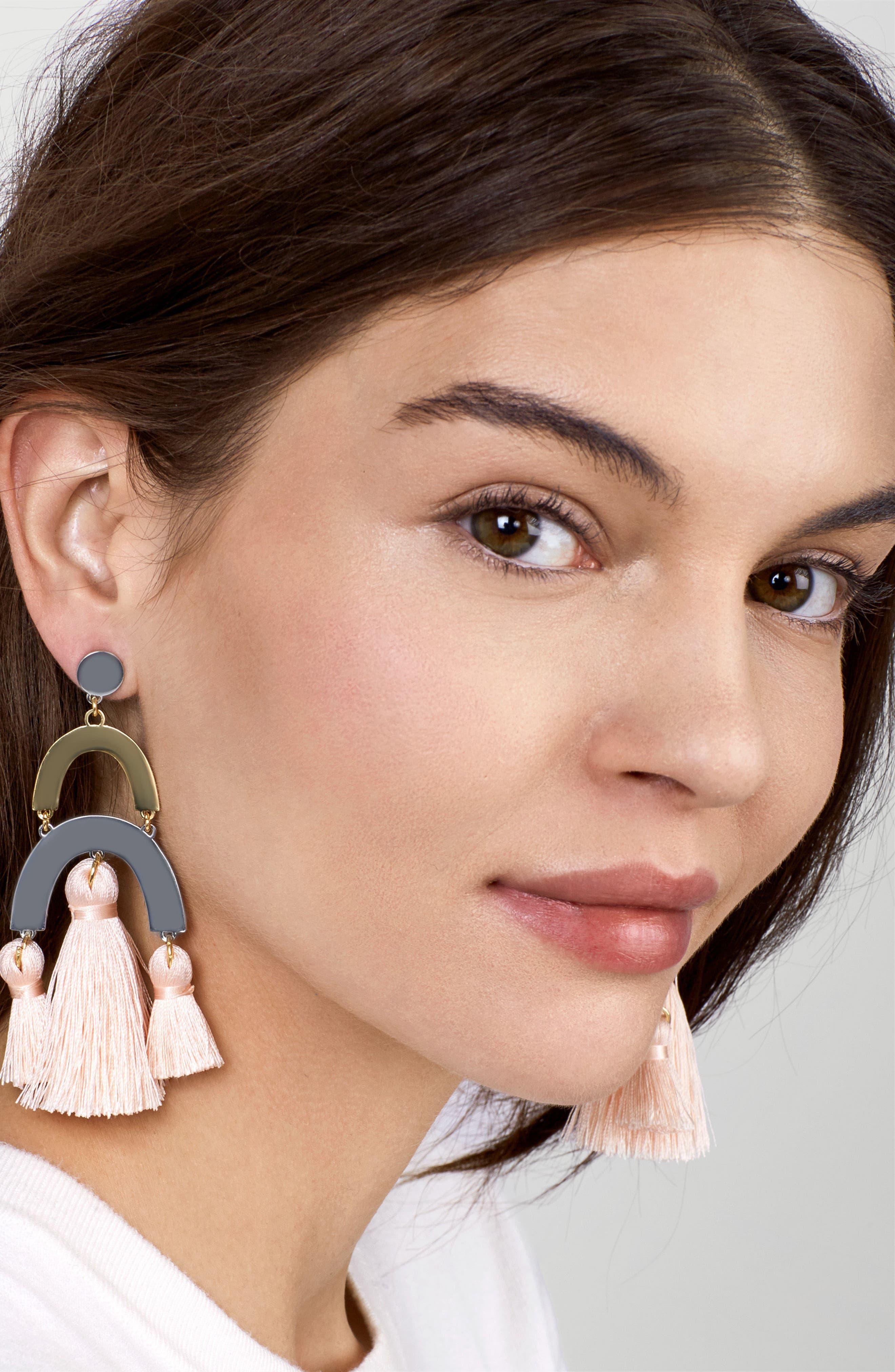 Shamia Tassel Drop Earrings,                             Alternate thumbnail 2, color,                             Blush