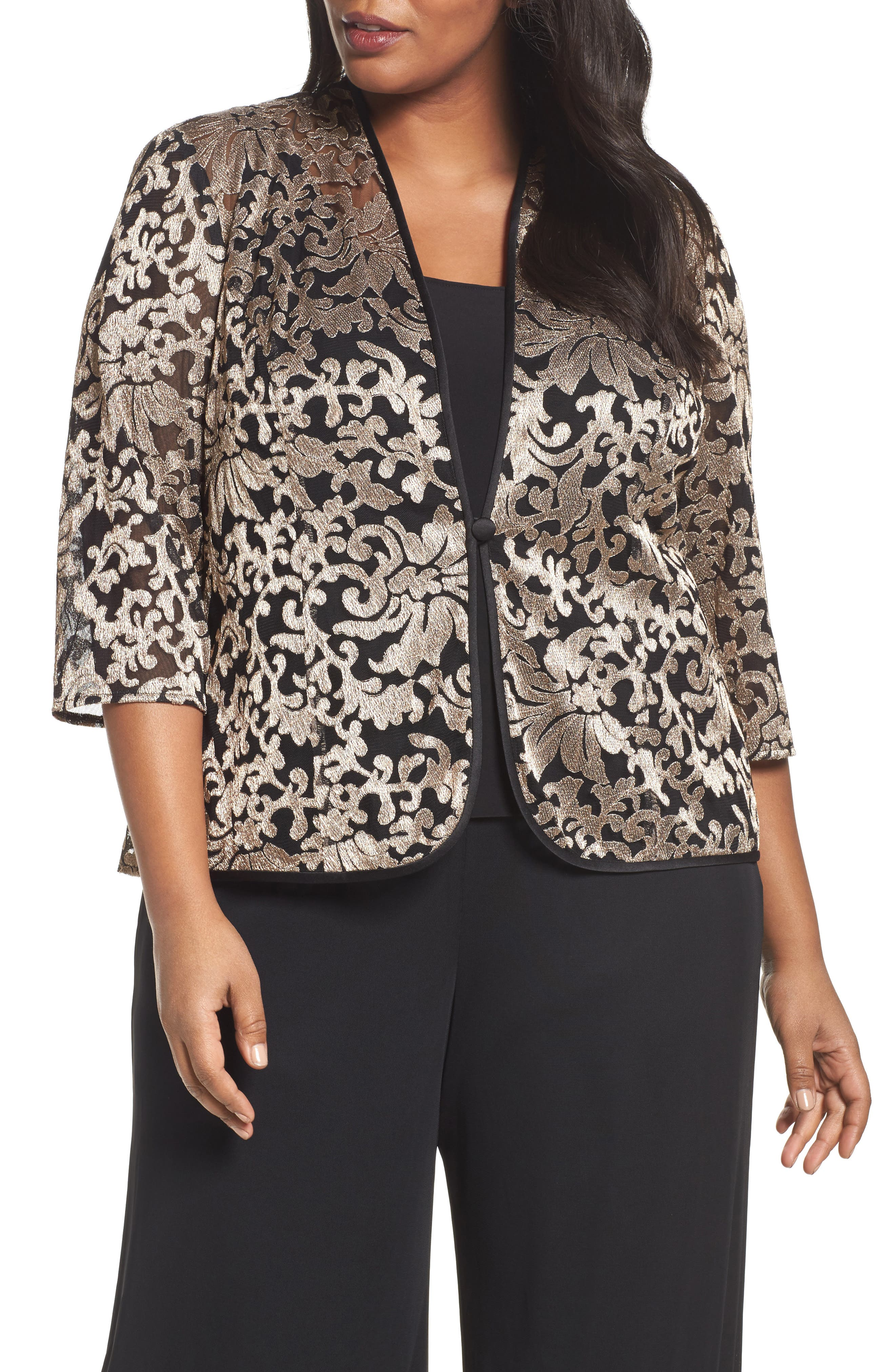 Metallic Embroidered Twinset,                         Main,                         color, Black/ Taupe