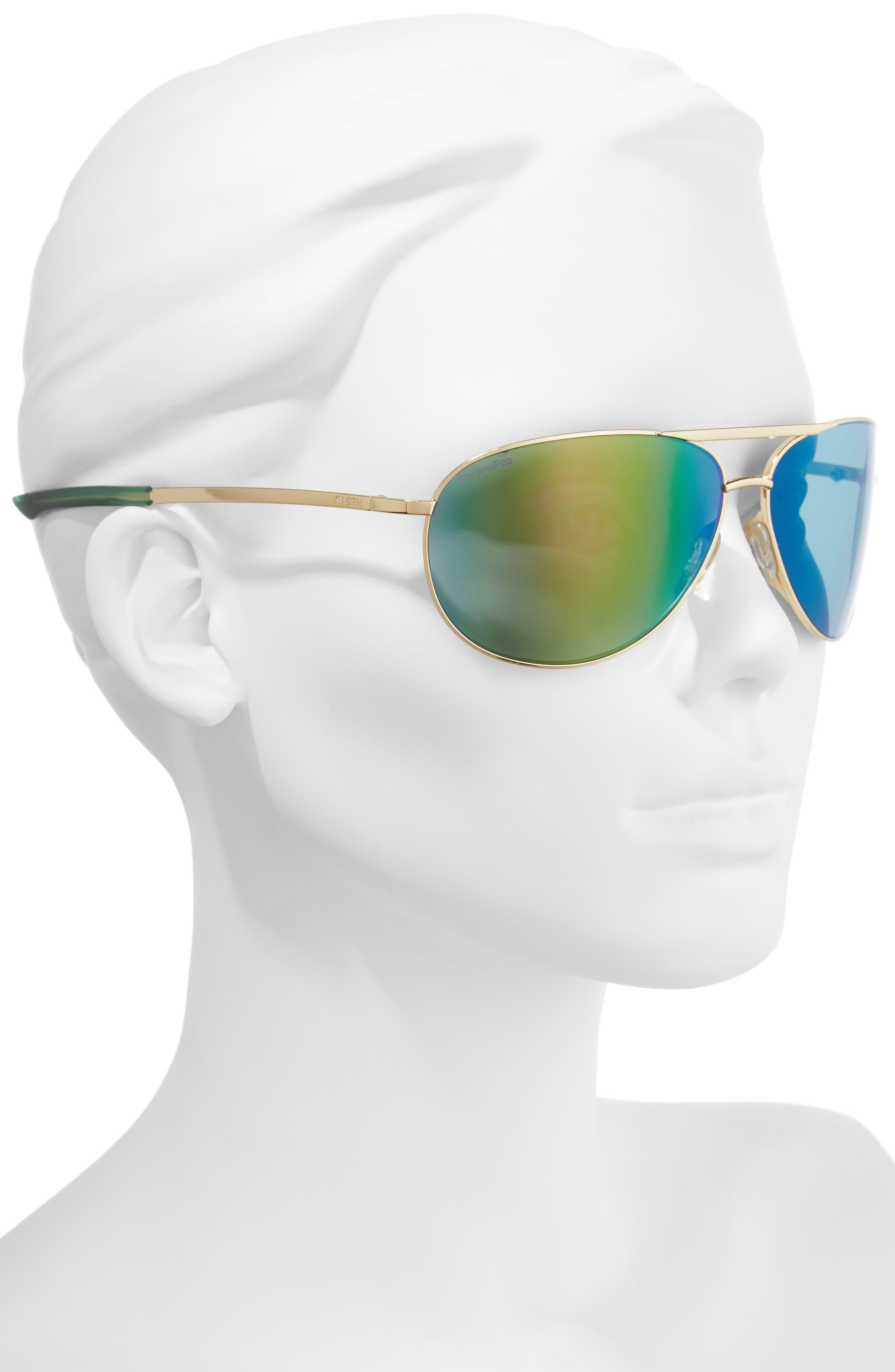 Serpico 2 65mm Mirrored ChromaPop<sup>™</sup> Polarized Aviator Sunglasses,                             Alternate thumbnail 2, color,                             Gold/ Green Mirror