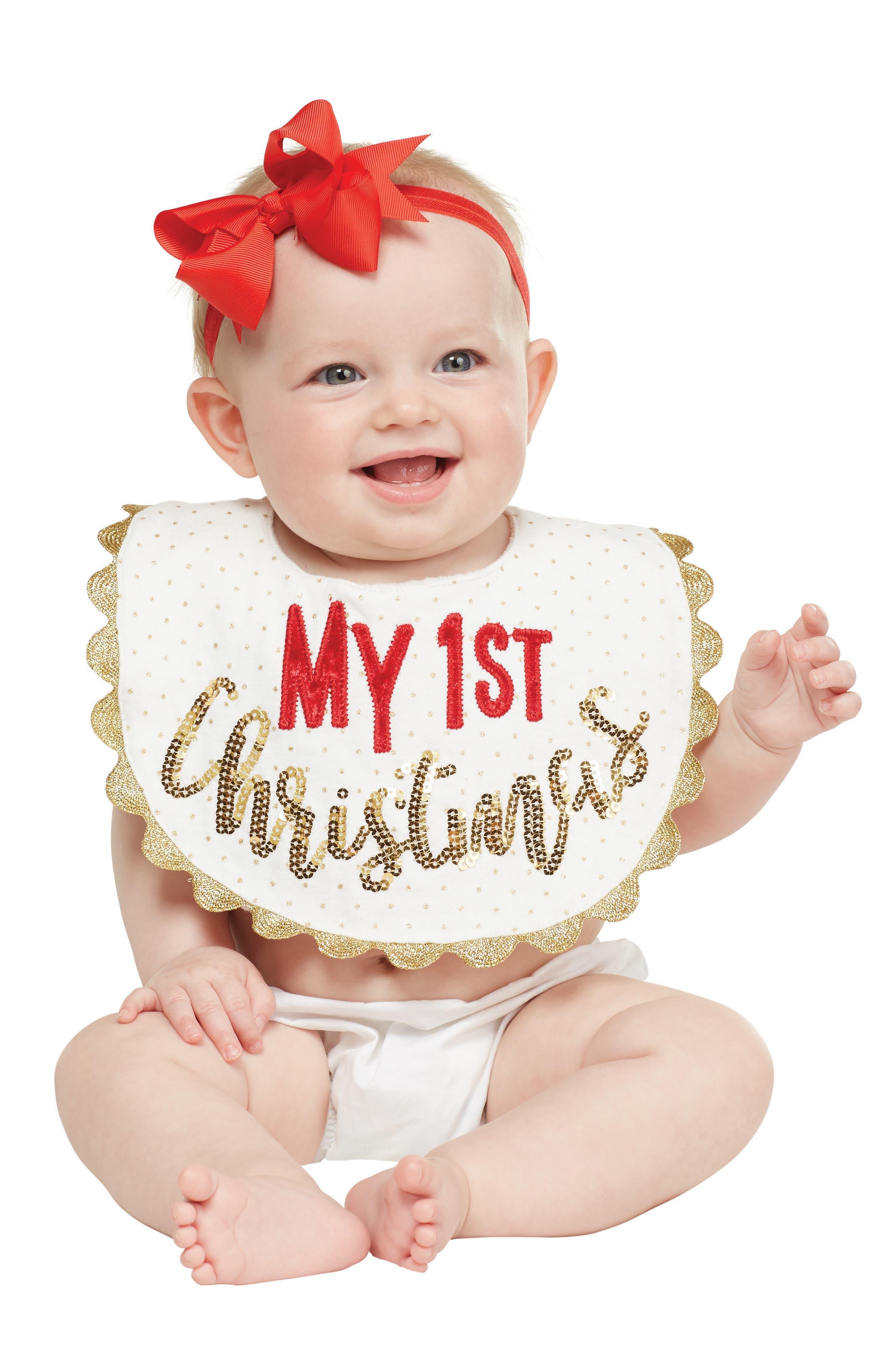 Alternate Image 2  - Mud Pie My First Christmas Bib (Baby)