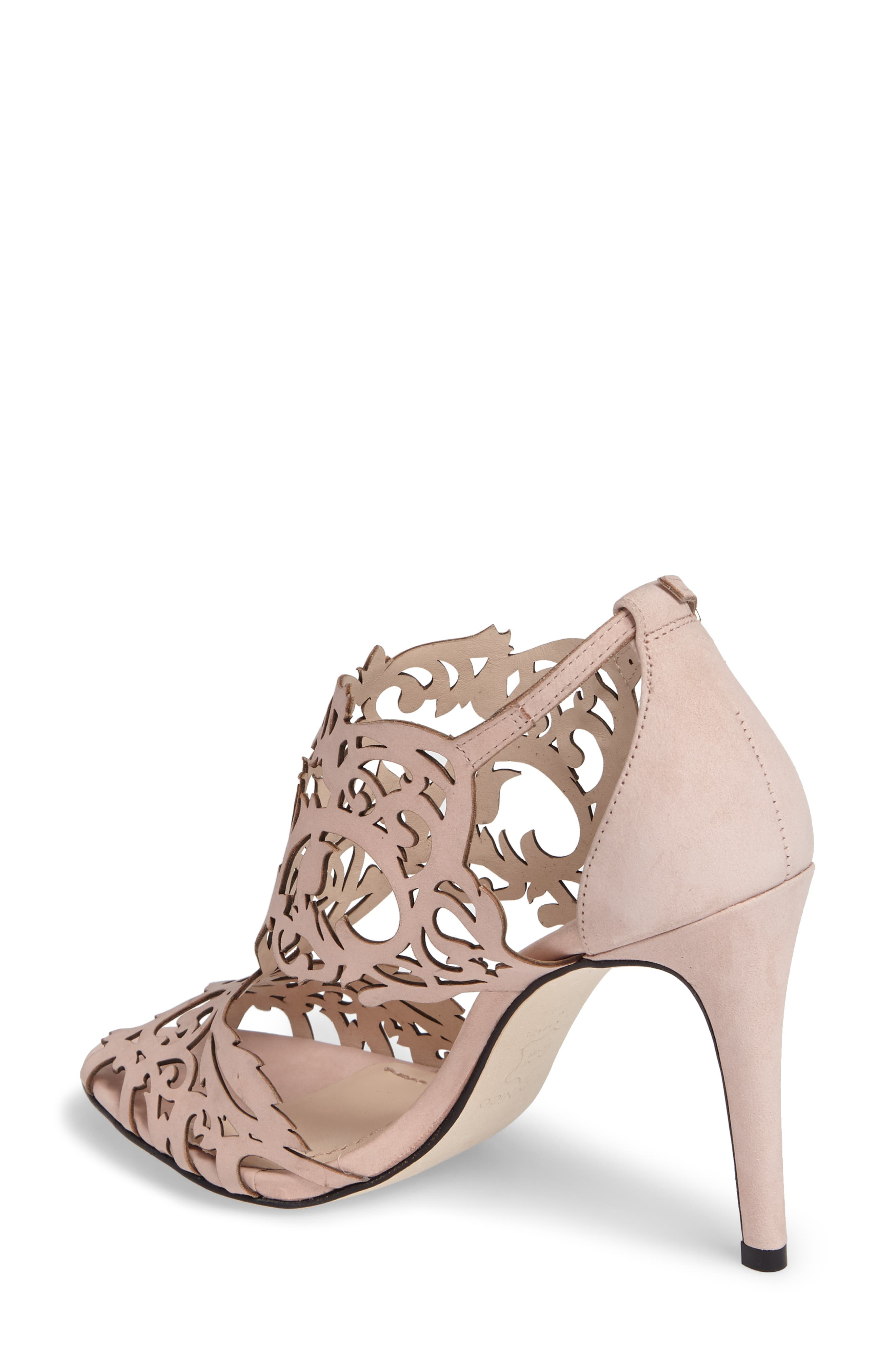 Marcela Laser Cutout Sandal,                             Alternate thumbnail 2, color,                             Blush Nubuck Leather