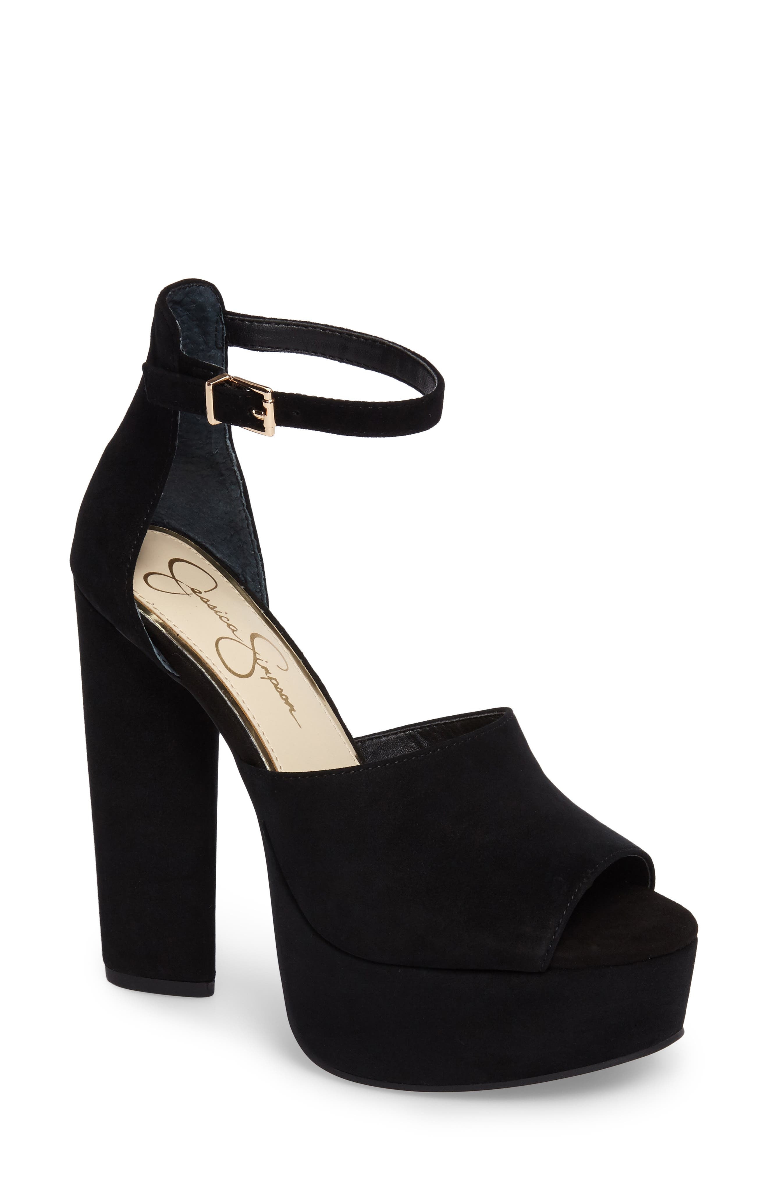 Elin Platform Sandal,                             Main thumbnail 1, color,                             Black Suede