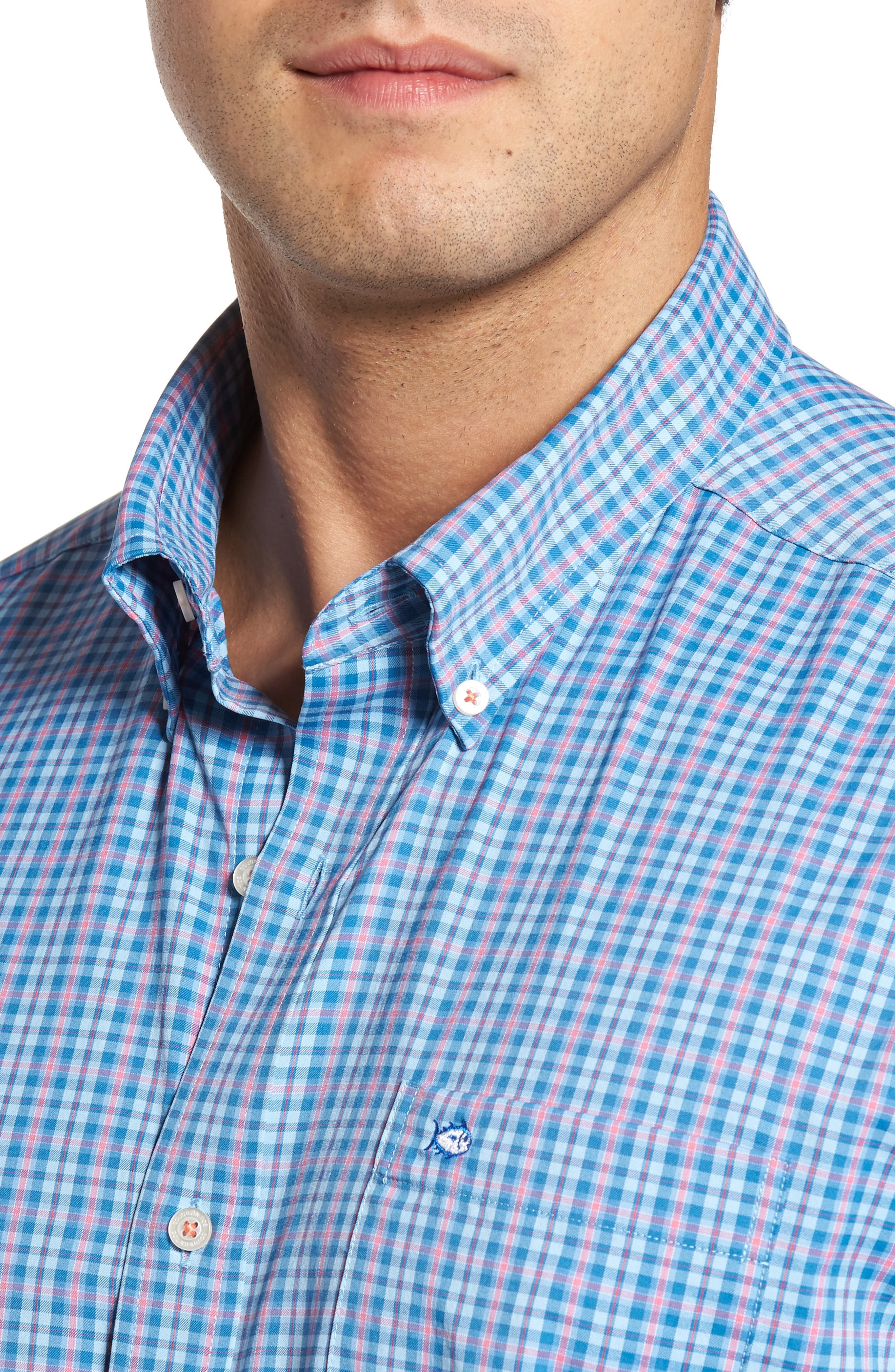 Intercoastal Regular Fit Bayview Plaid Performance Sport Shirt,                             Alternate thumbnail 4, color,                             Sky Blue