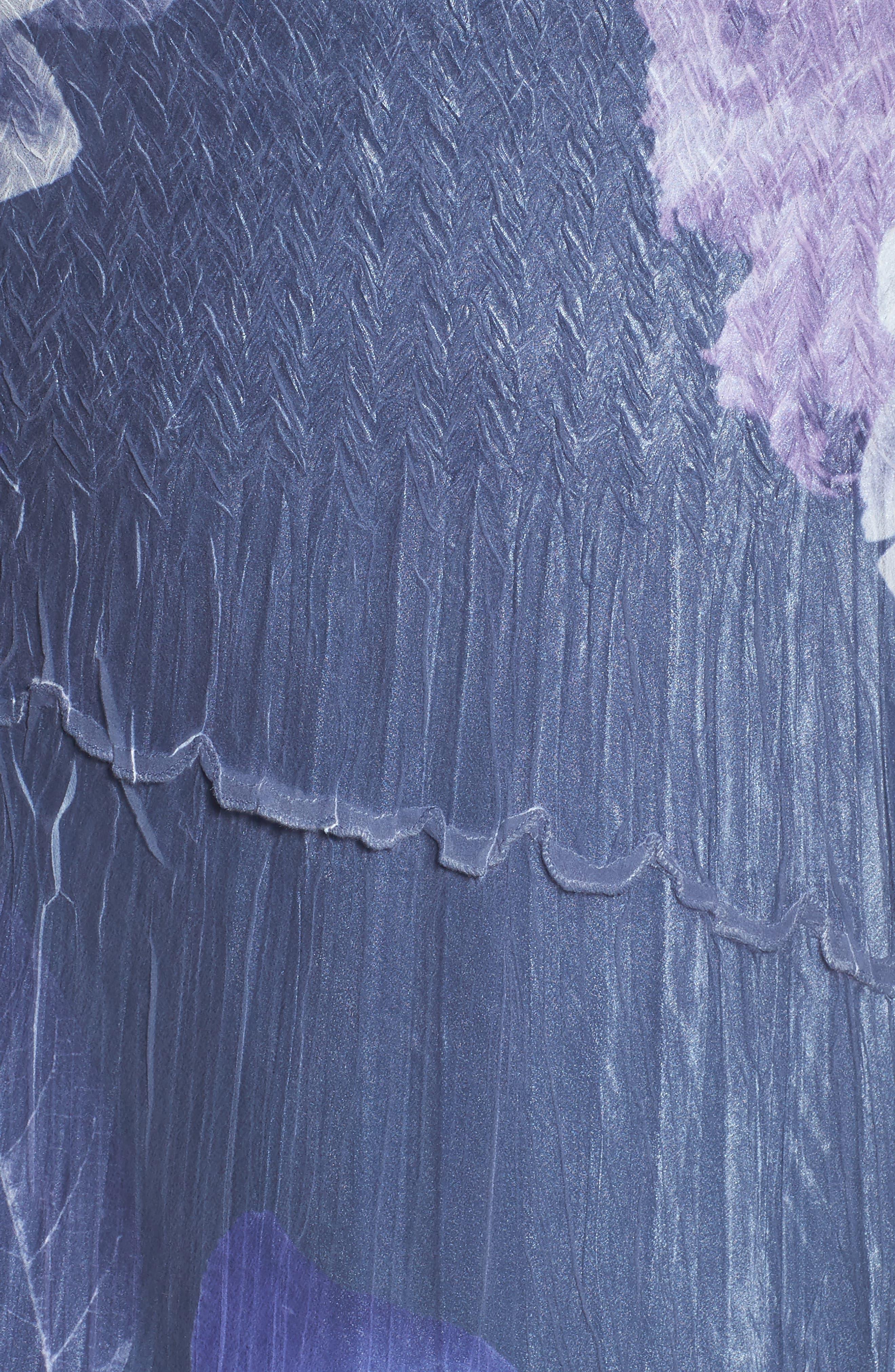 Chiffon Handkerchief Hem Dress,                             Alternate thumbnail 5, color,                             Indigo Shadow