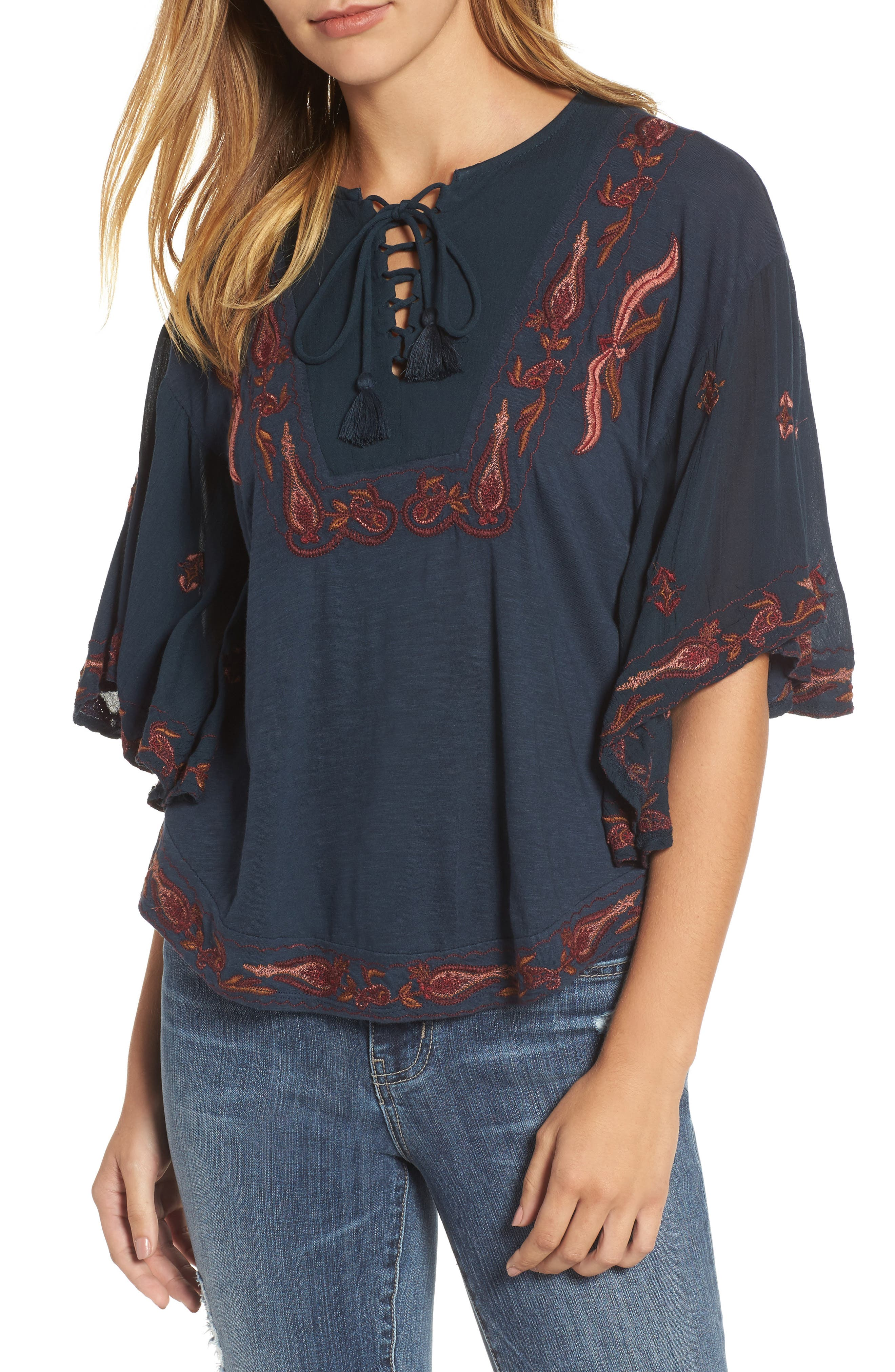 Embroidered Lace Up Peasant Top,                             Main thumbnail 1, color,                             Blueberry