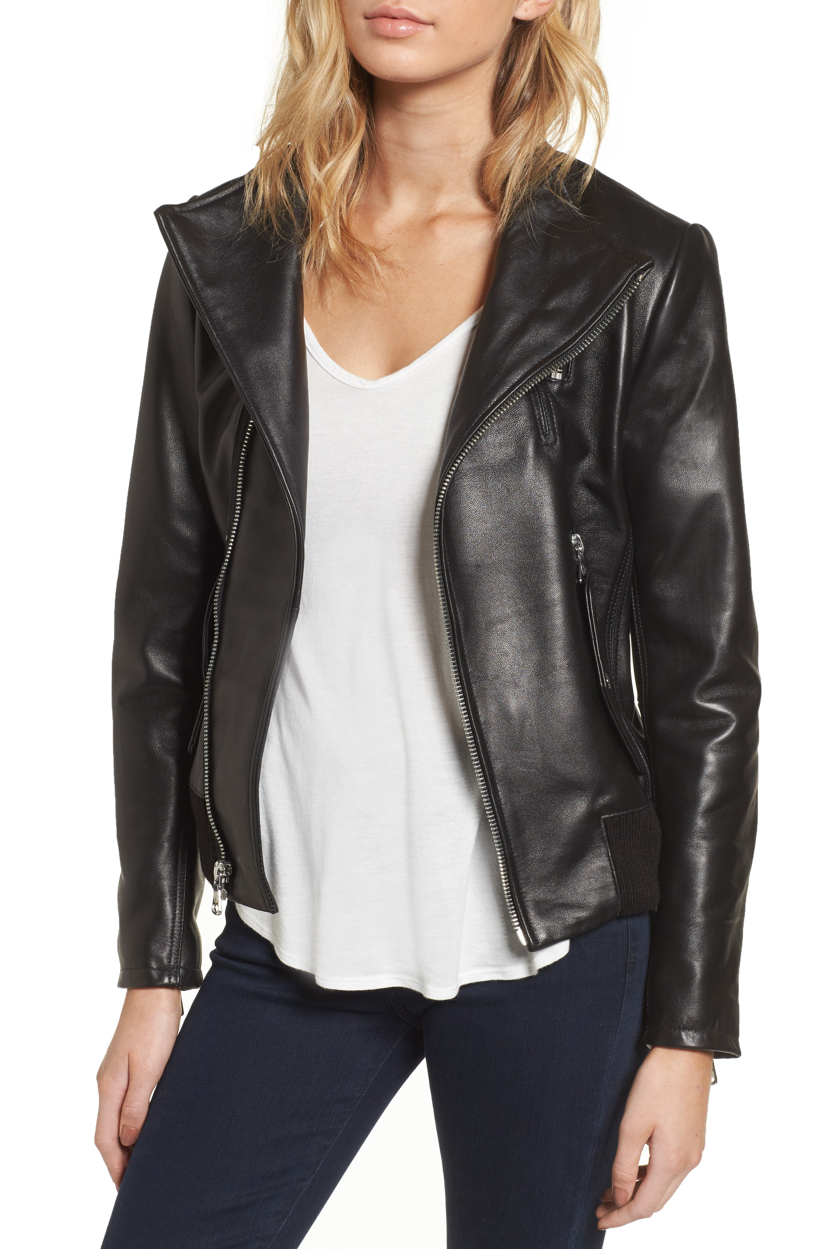 Main Image - Vince Camuto Leather Bomber Jacket