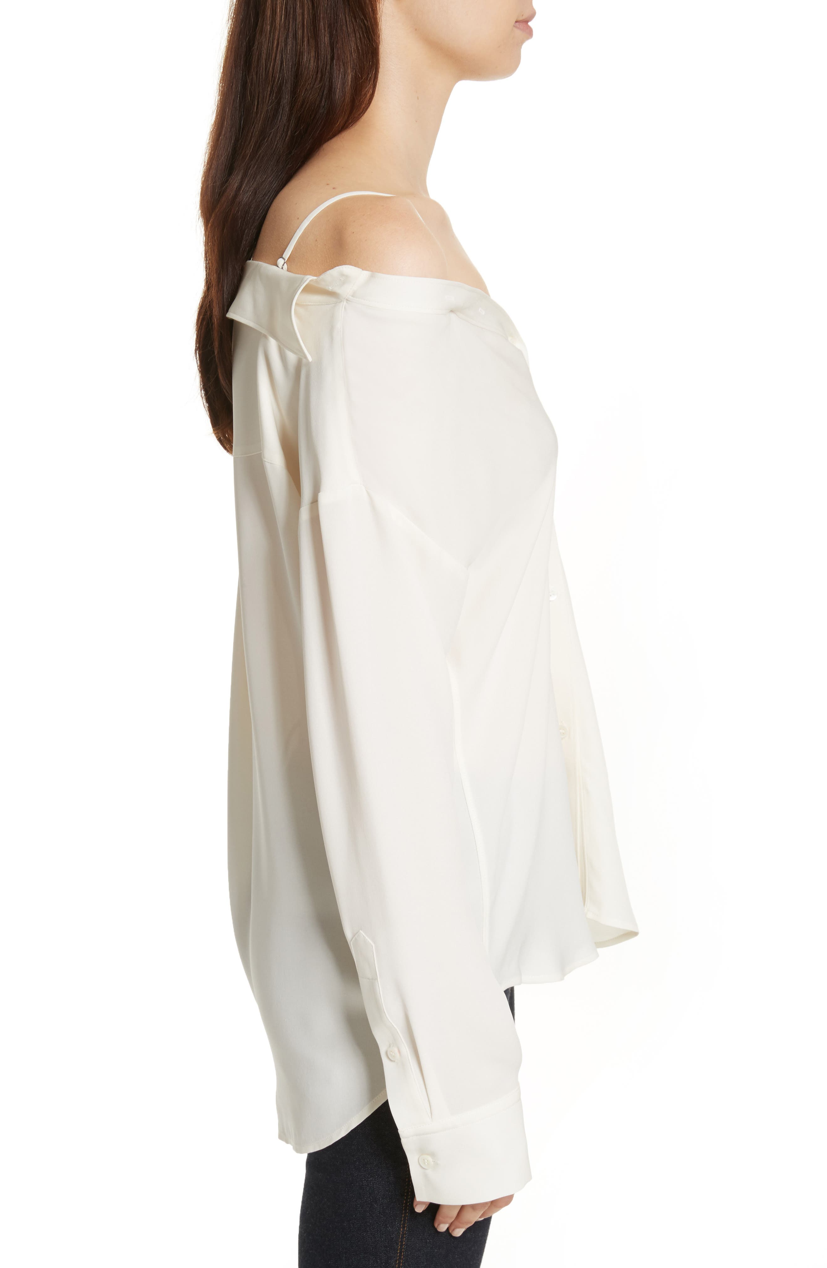 Tamalee Silk Shirt,                             Alternate thumbnail 3, color,                             Ivory