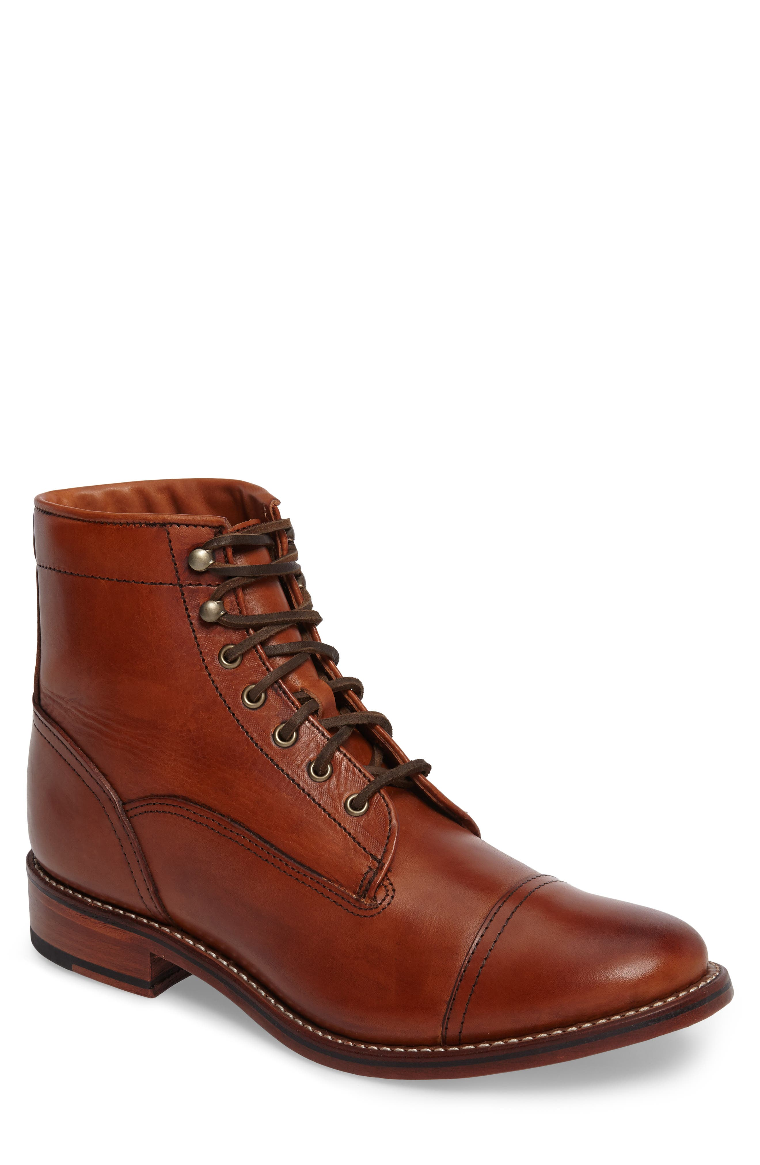 Highlands Cap Toe Boot,                         Main,                         color, Cognac Leather