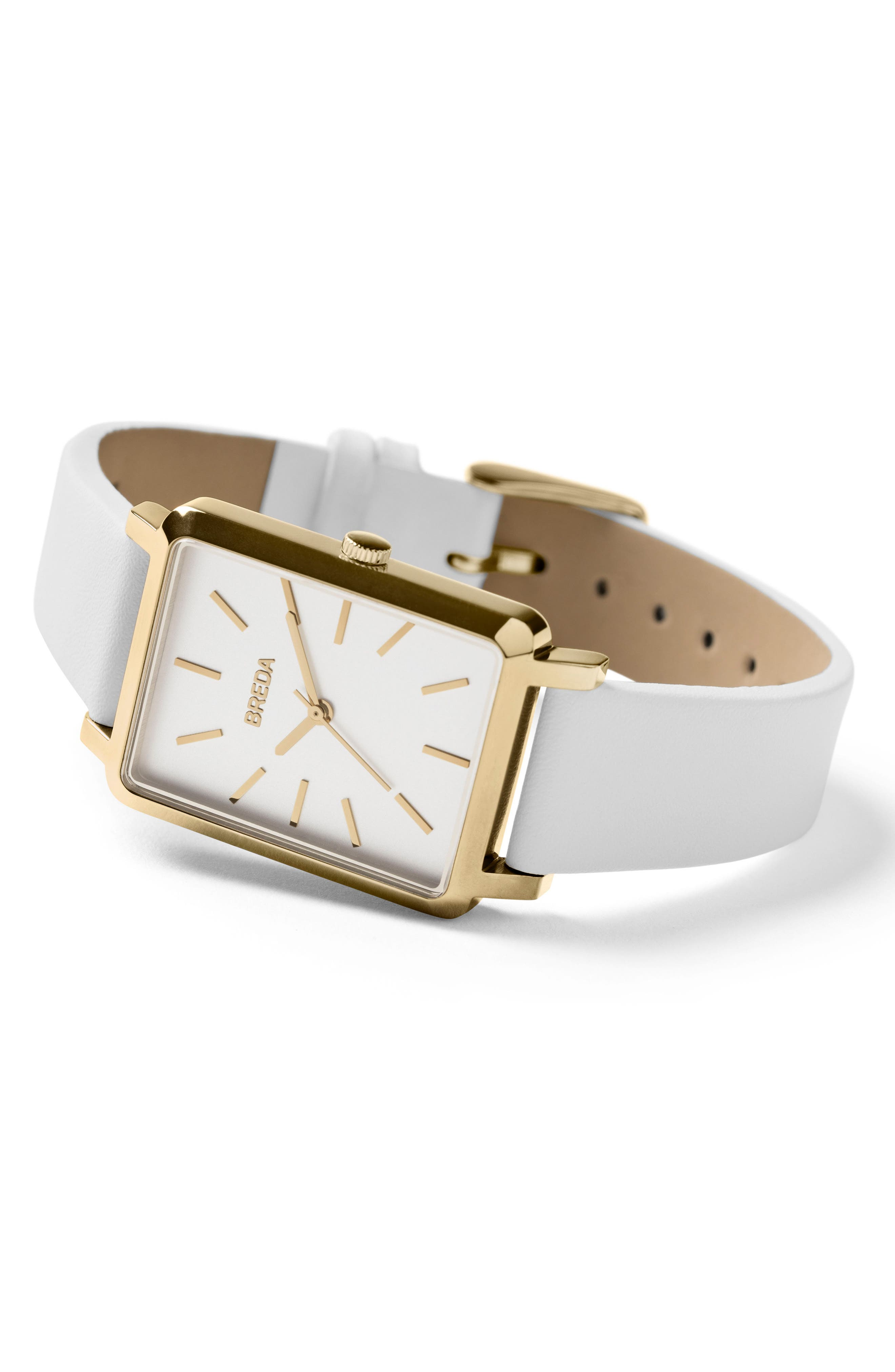 Baer Rectangular Leather Strap Watch, 26mm,                             Alternate thumbnail 3, color,                             White/ Gold
