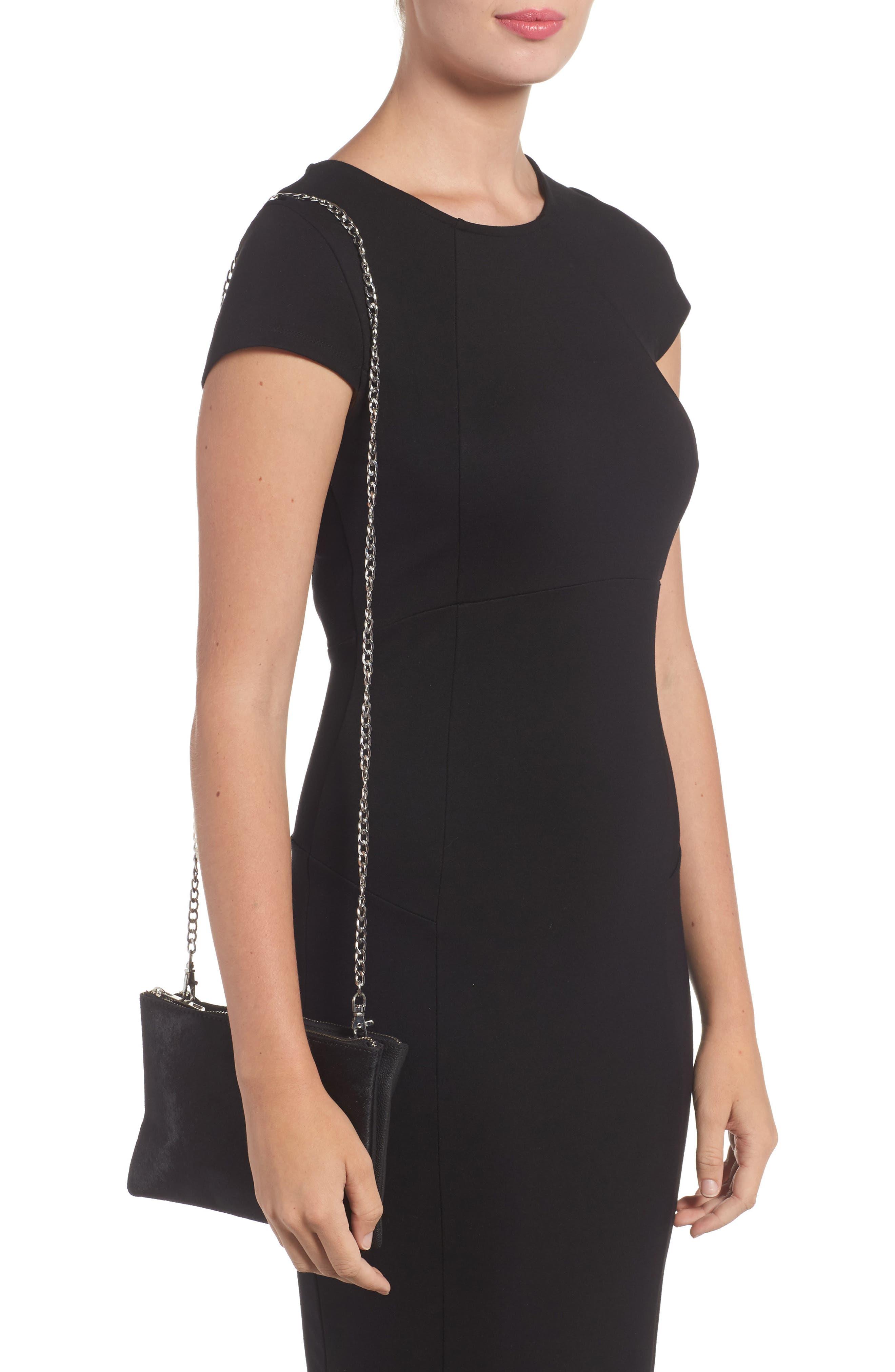 Alternate Image 3  - Topshop Oakley Leather & Genuine Calf Hair Crossbody Bag