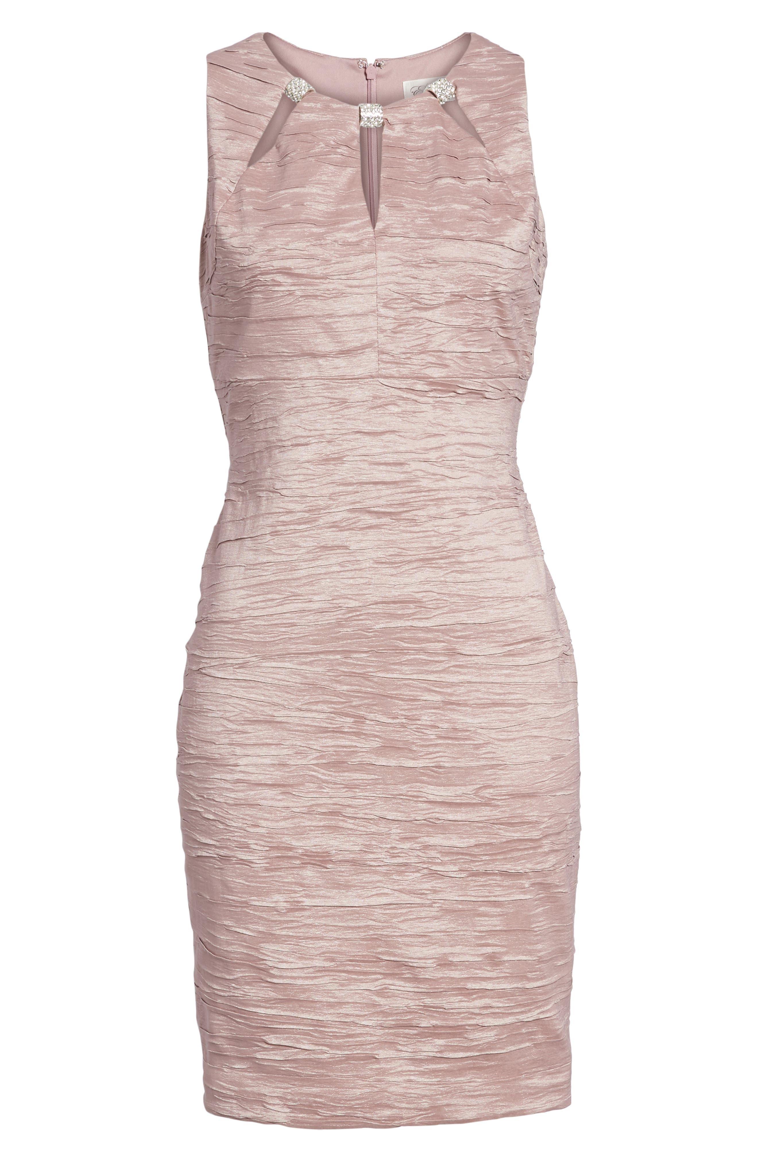 Embellished Cutout Taffeta Sheath Dress,                             Alternate thumbnail 7, color,                             Mauve