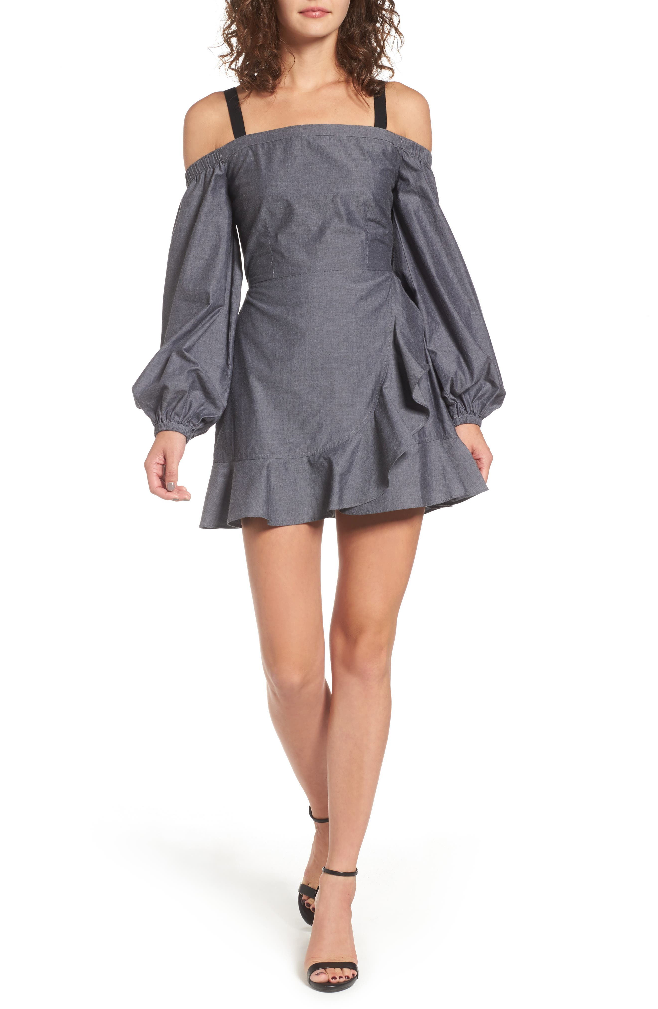 The Chance Off the Shoulder Minidress,                         Main,                         color, Washed Black