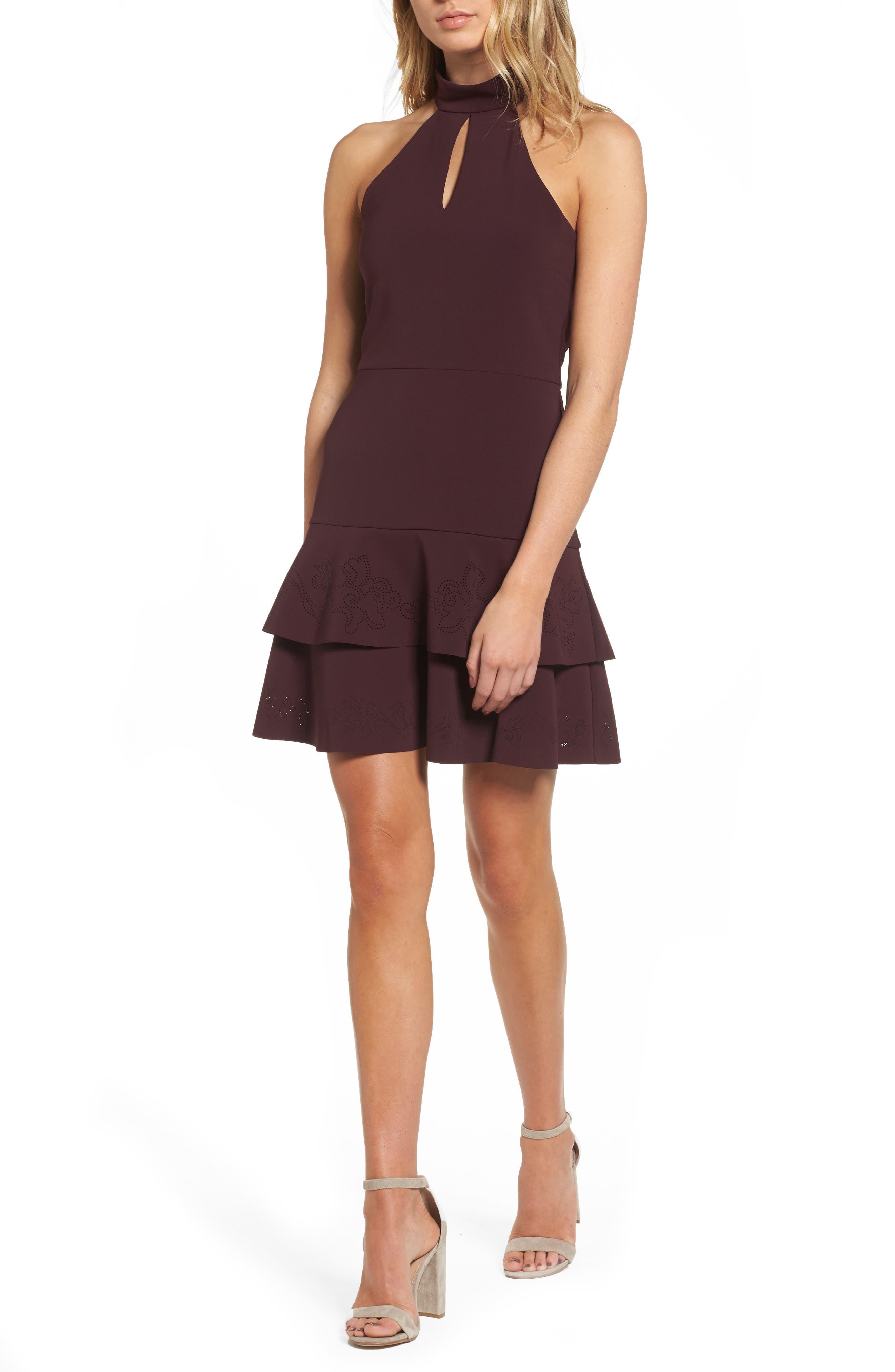 Luana Tiered Halter Dress,                         Main,                         color, Raisin