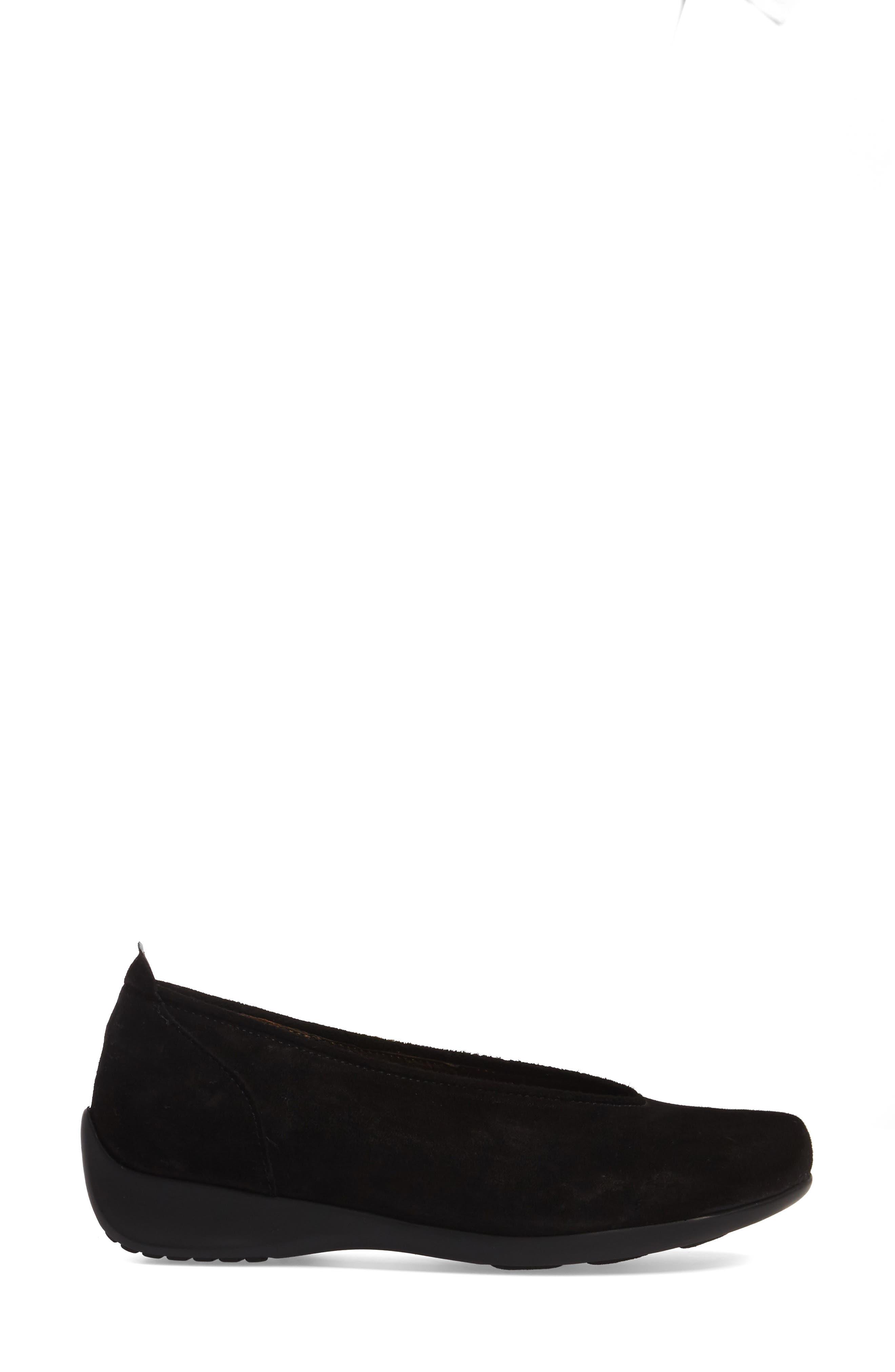 Ballet Flat,                             Alternate thumbnail 3, color,                             Black Suede