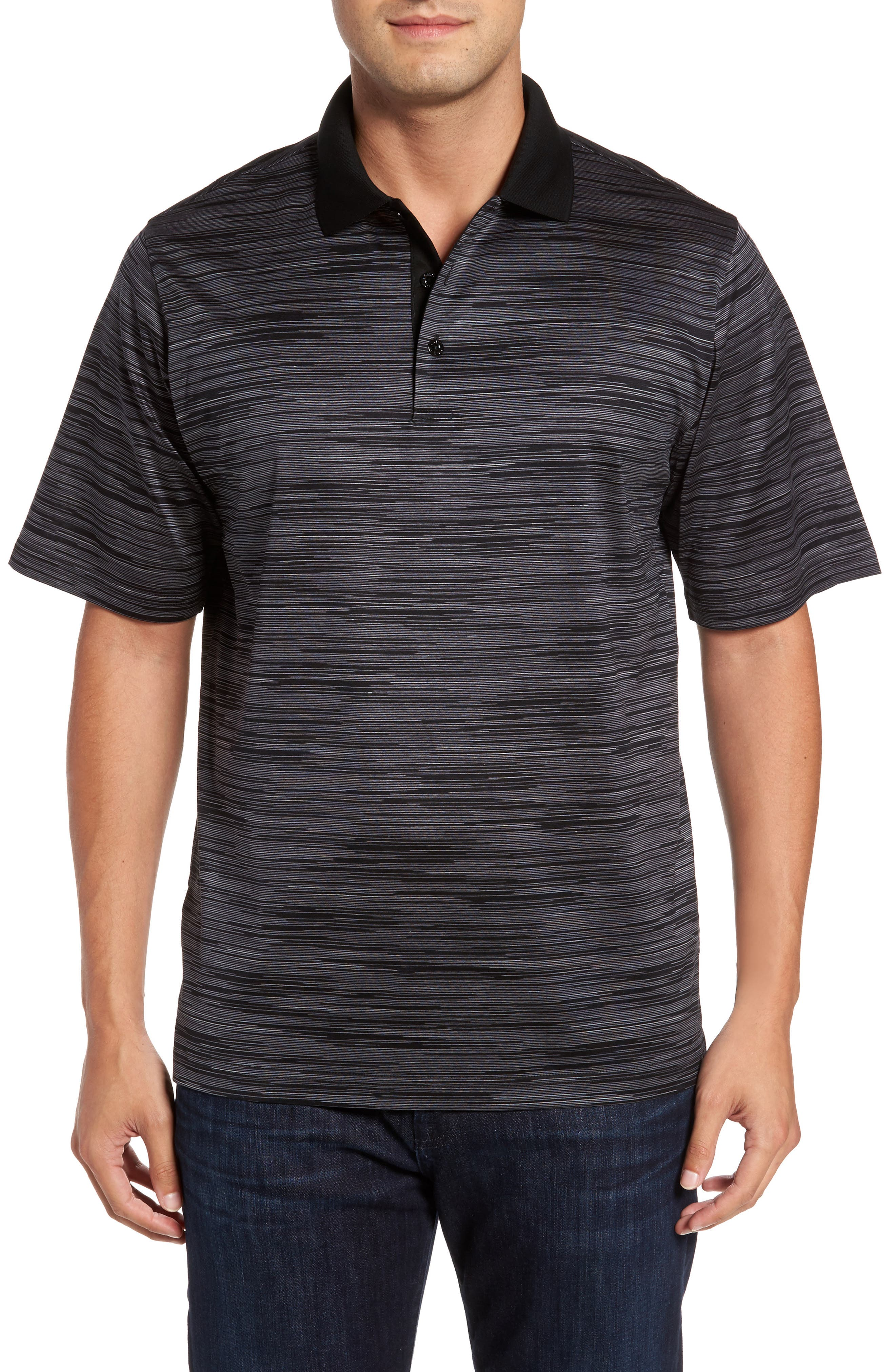 Classic Fit Space Dye Jersey Polo,                         Main,                         color, Black
