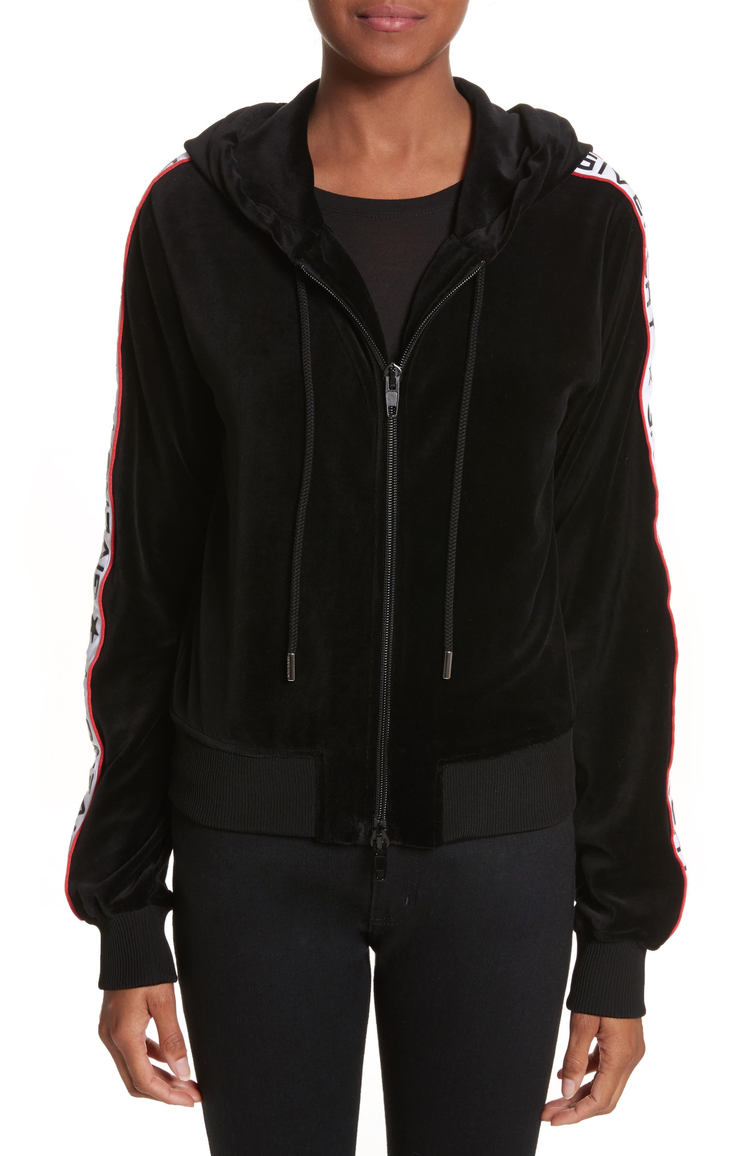 Alternate Image 2  - Givenchy Logo Stripe Velvet Hoodie