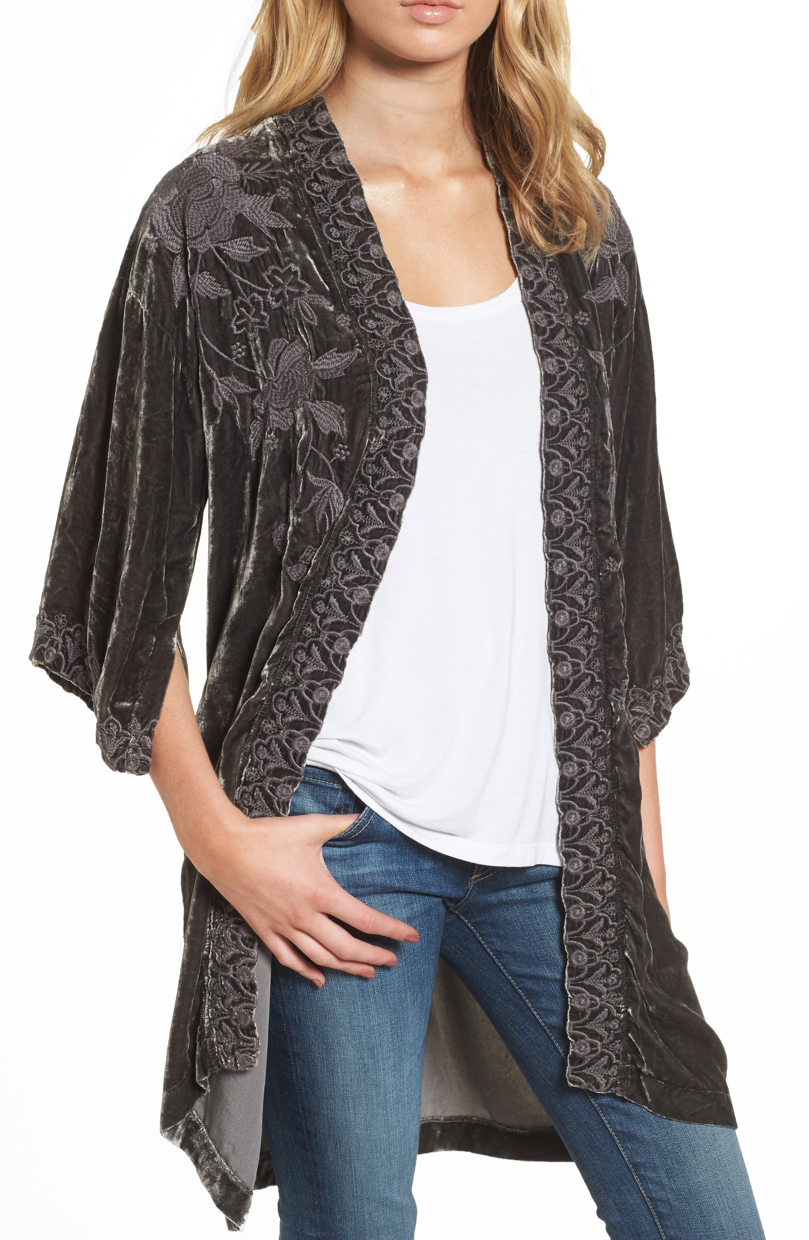 Parina Embroidered Velvet Kimono,                             Main thumbnail 1, color,                             Steel Grey