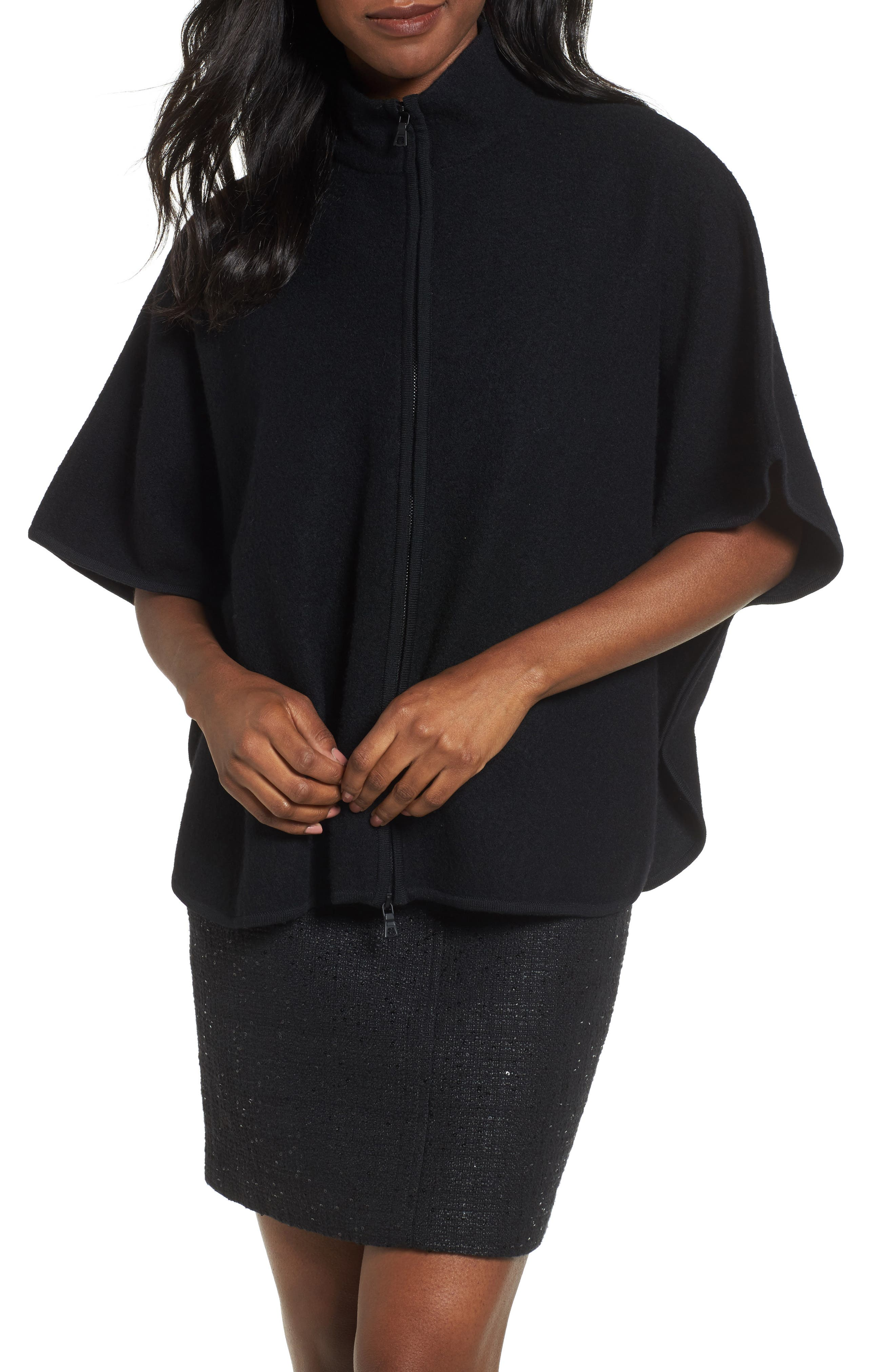 Zip Front Boiled Wool Cape,                         Main,                         color, Black