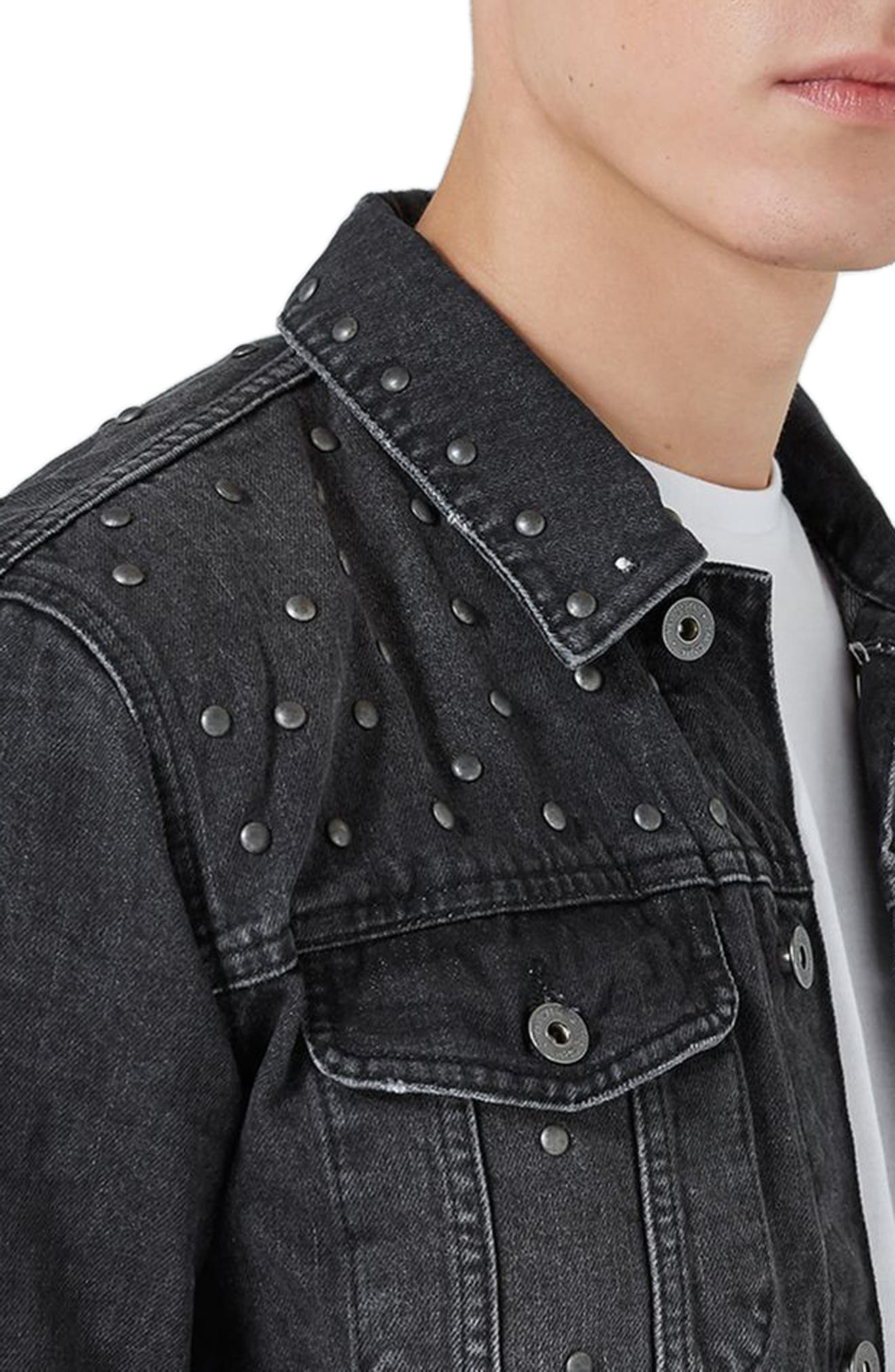 Alternate Image 3  - Topman Studded Denim Jacket