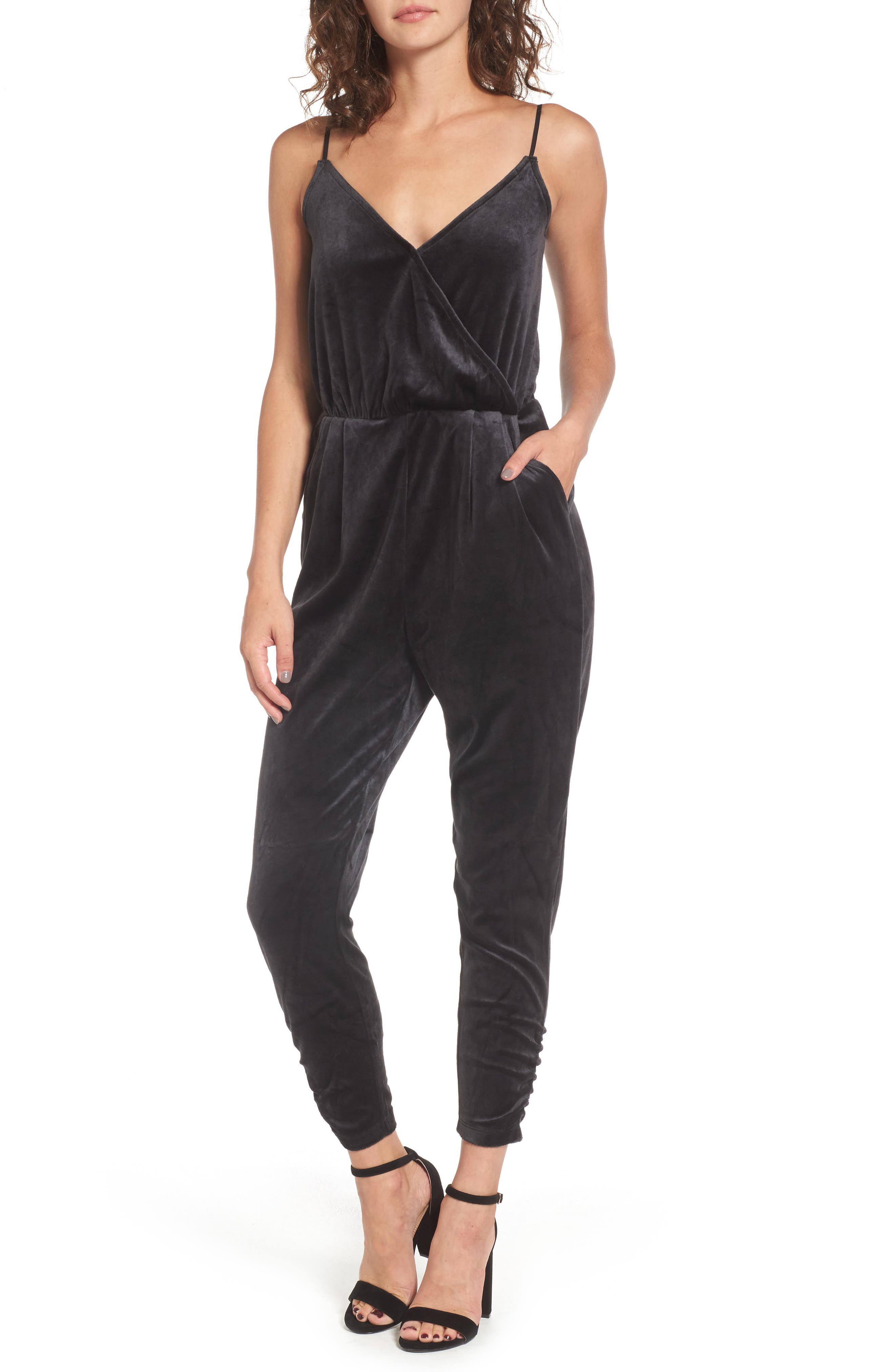 Velour Track Strappy Jumpsuit,                             Main thumbnail 1, color,                             Pitch Black