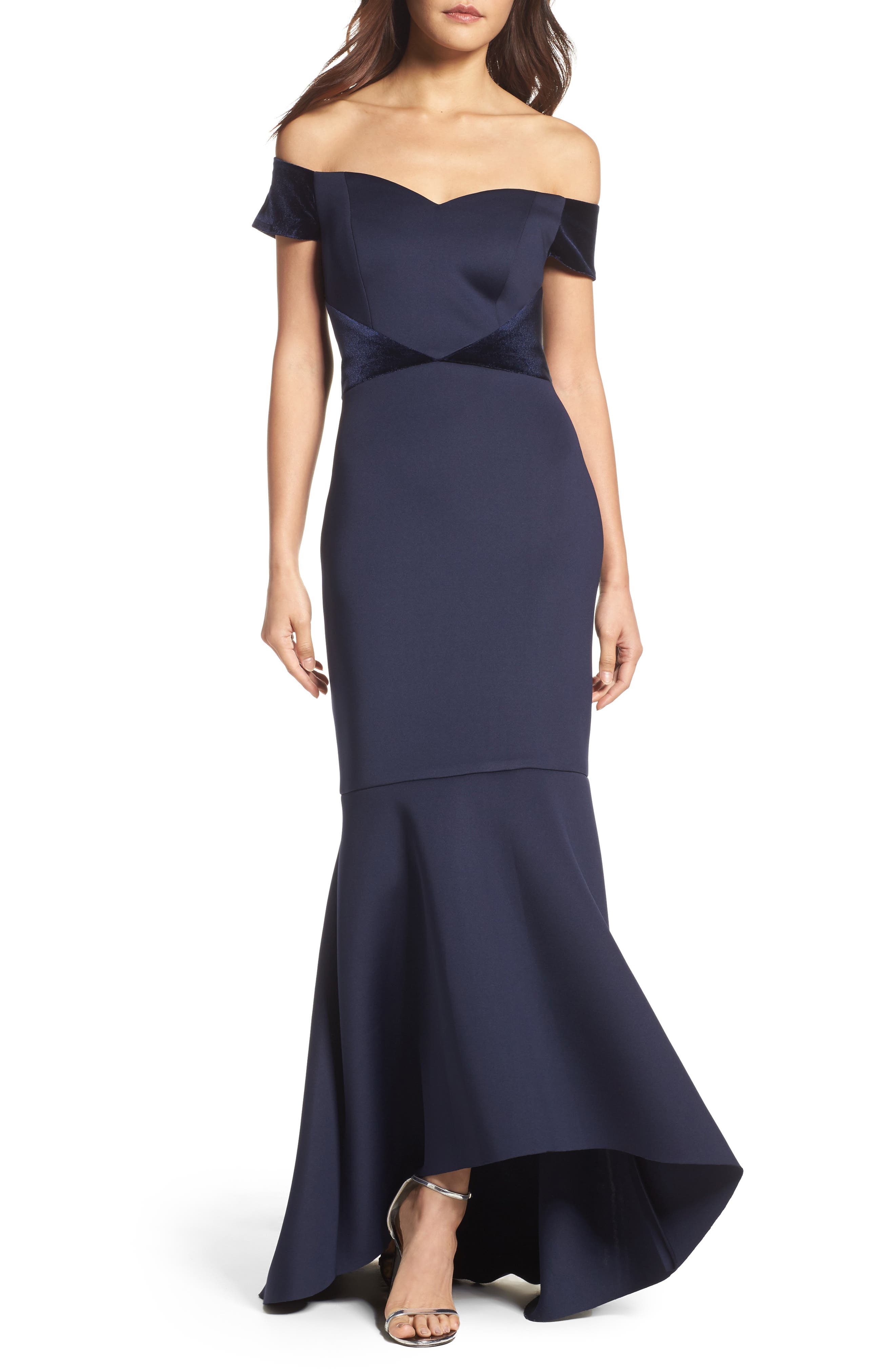 Off the Shoulder High/Low Mermaid Gown,                         Main,                         color, Navy