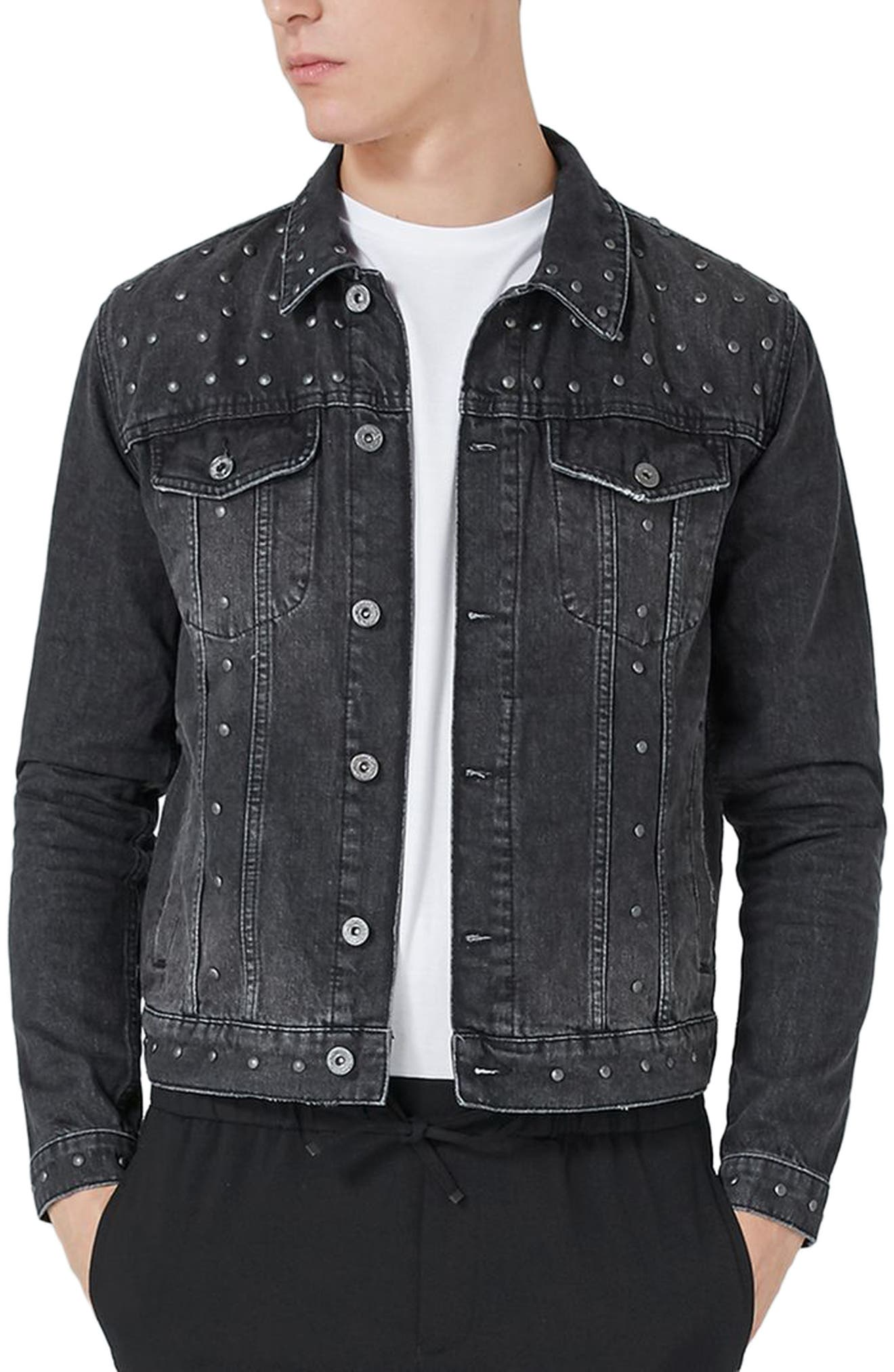 Main Image - Topman Studded Denim Jacket