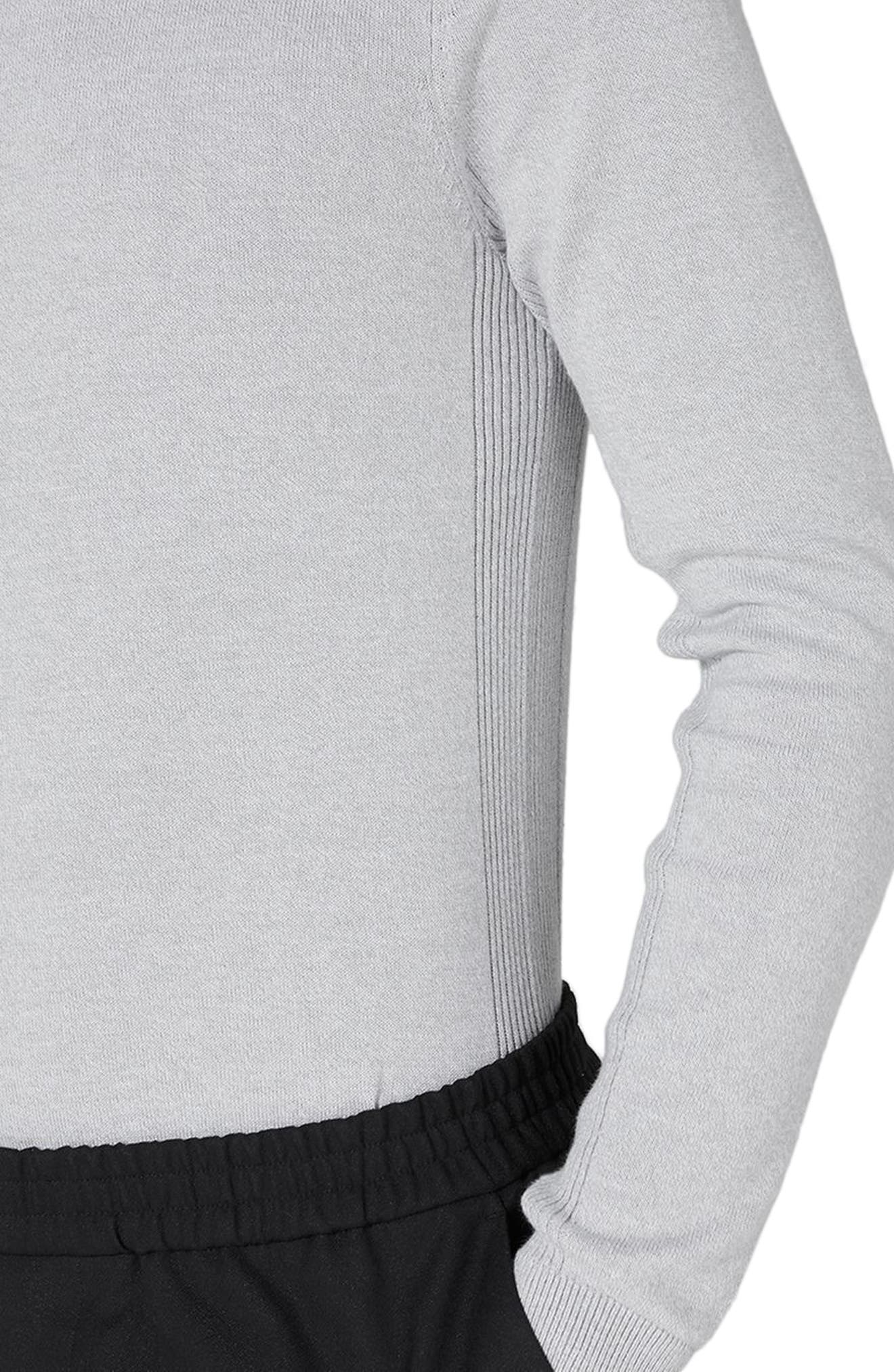Side Ribbed Slim Fit Sweater,                             Alternate thumbnail 3, color,                             Grey