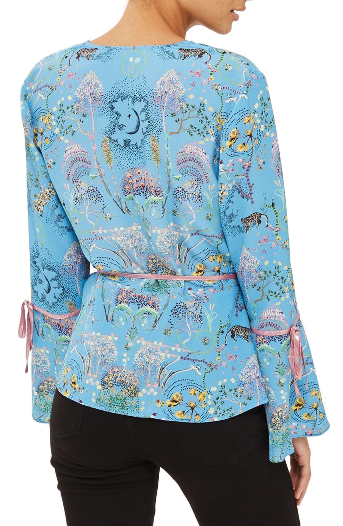 Magical Leopard Print Wrap Blouse,                             Alternate thumbnail 3, color,                             Blue Multi