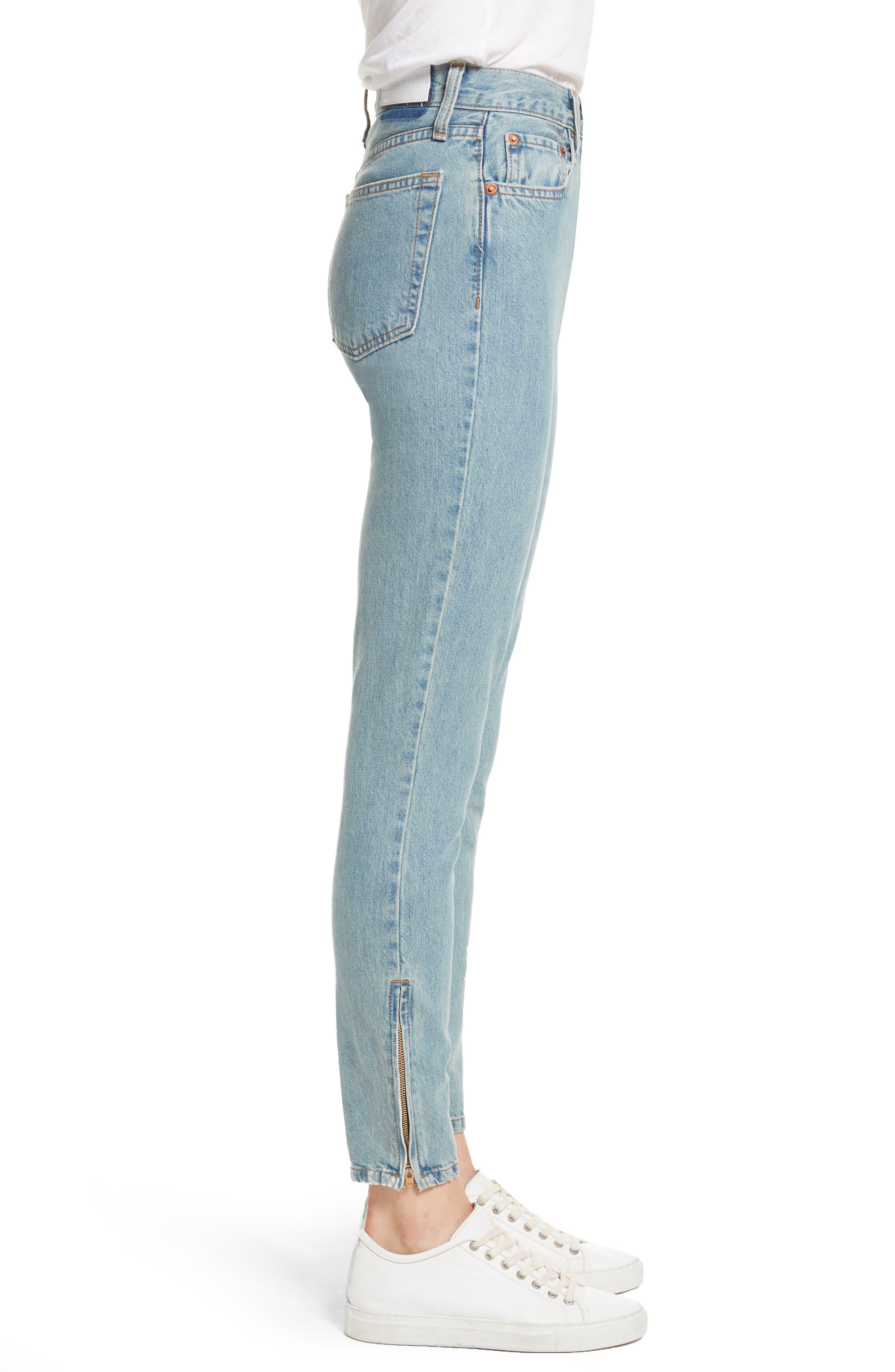 Originals High Waist Ankle Zip Jeans,                             Alternate thumbnail 3, color,                             90S