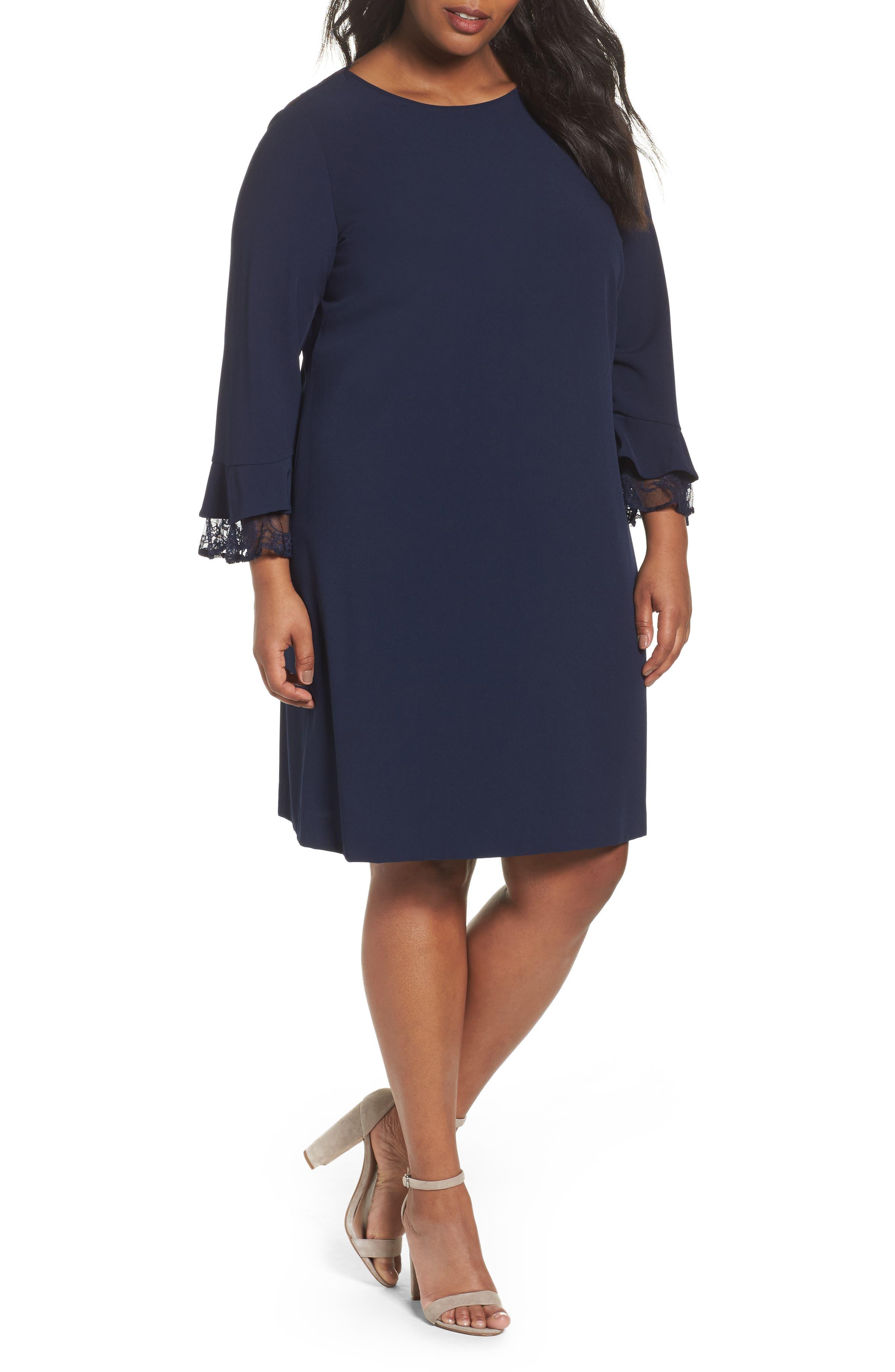 Main Image - Tahari Lace Trim Shift Dress (Plus Size)