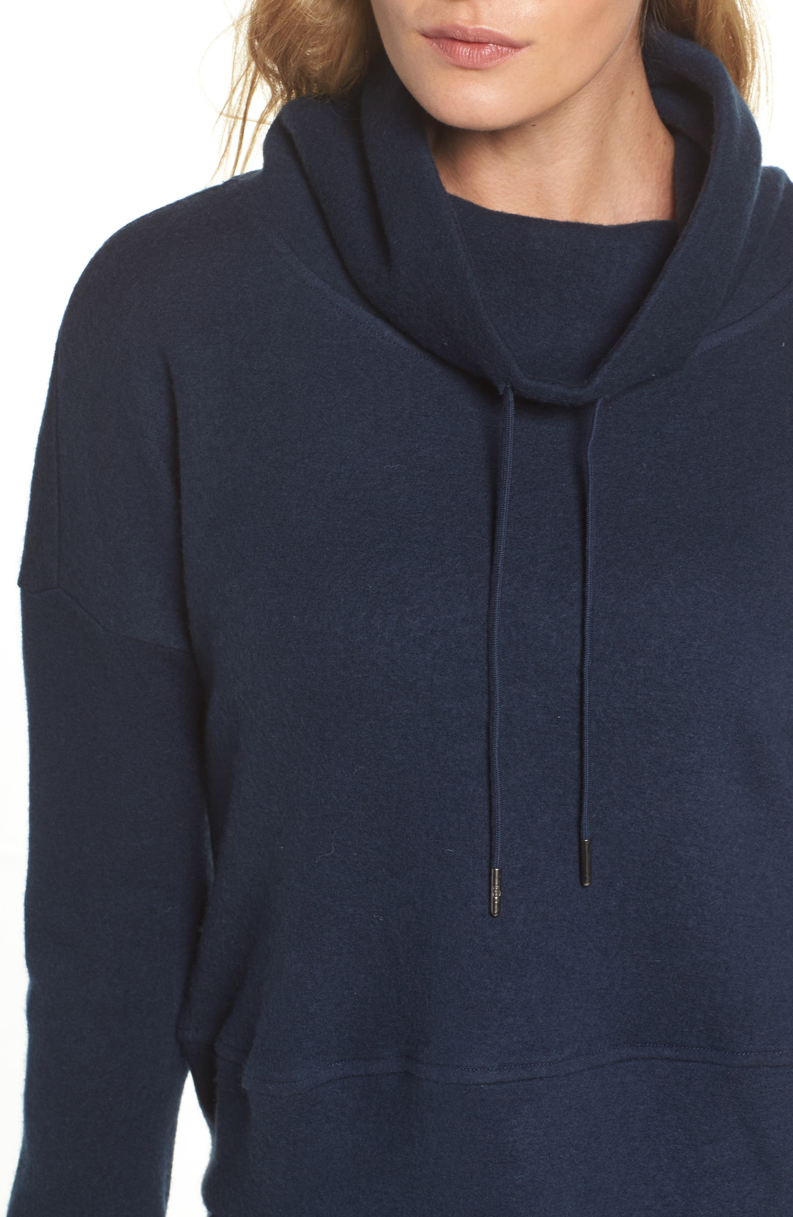 Funnel Neck Crop Merino Wool Sweatshirt,                             Alternate thumbnail 6, color,                             Navy Heather