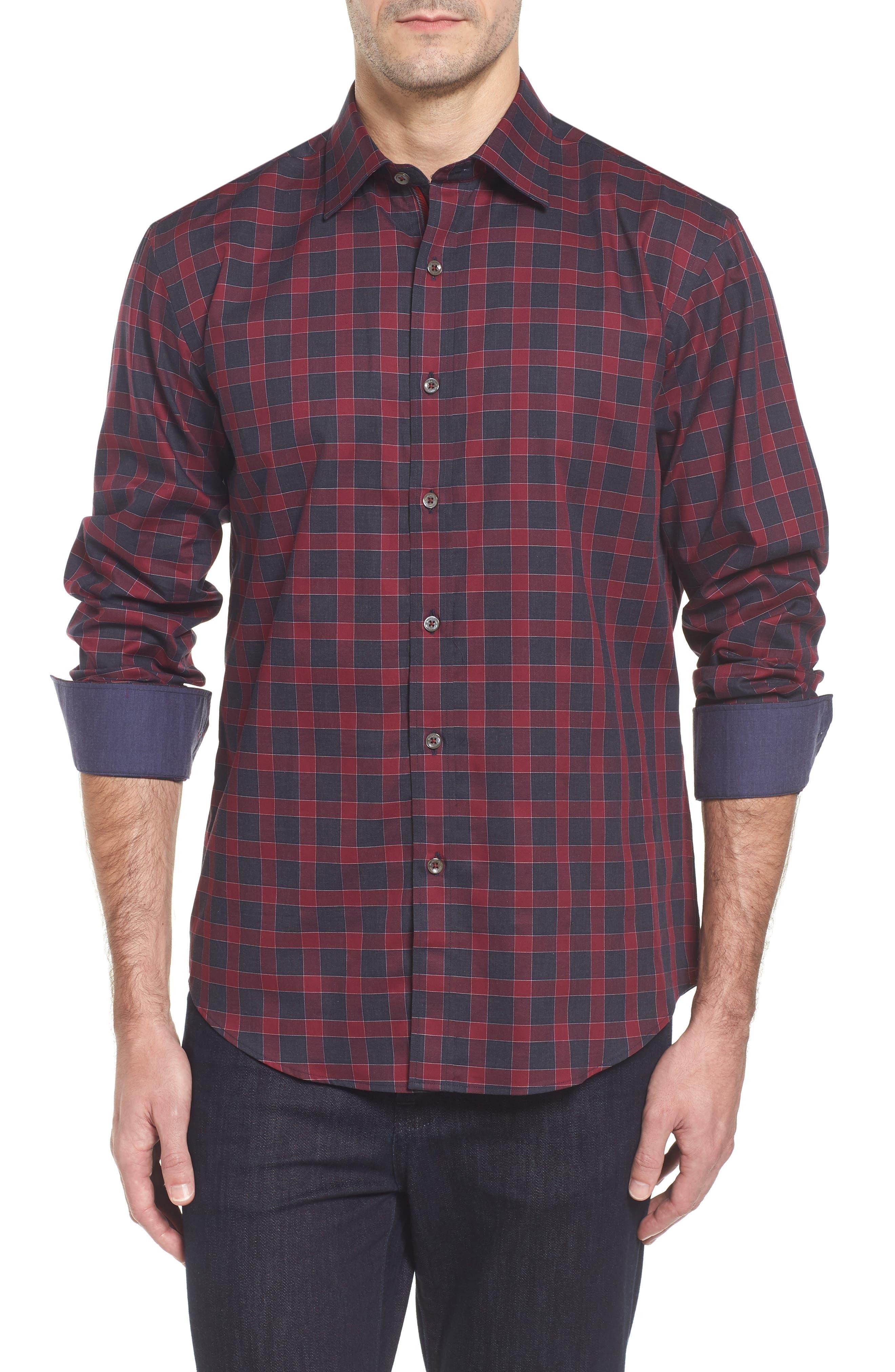 Shaped Fit Check Sport Shirt,                         Main,                         color, Bordeaux