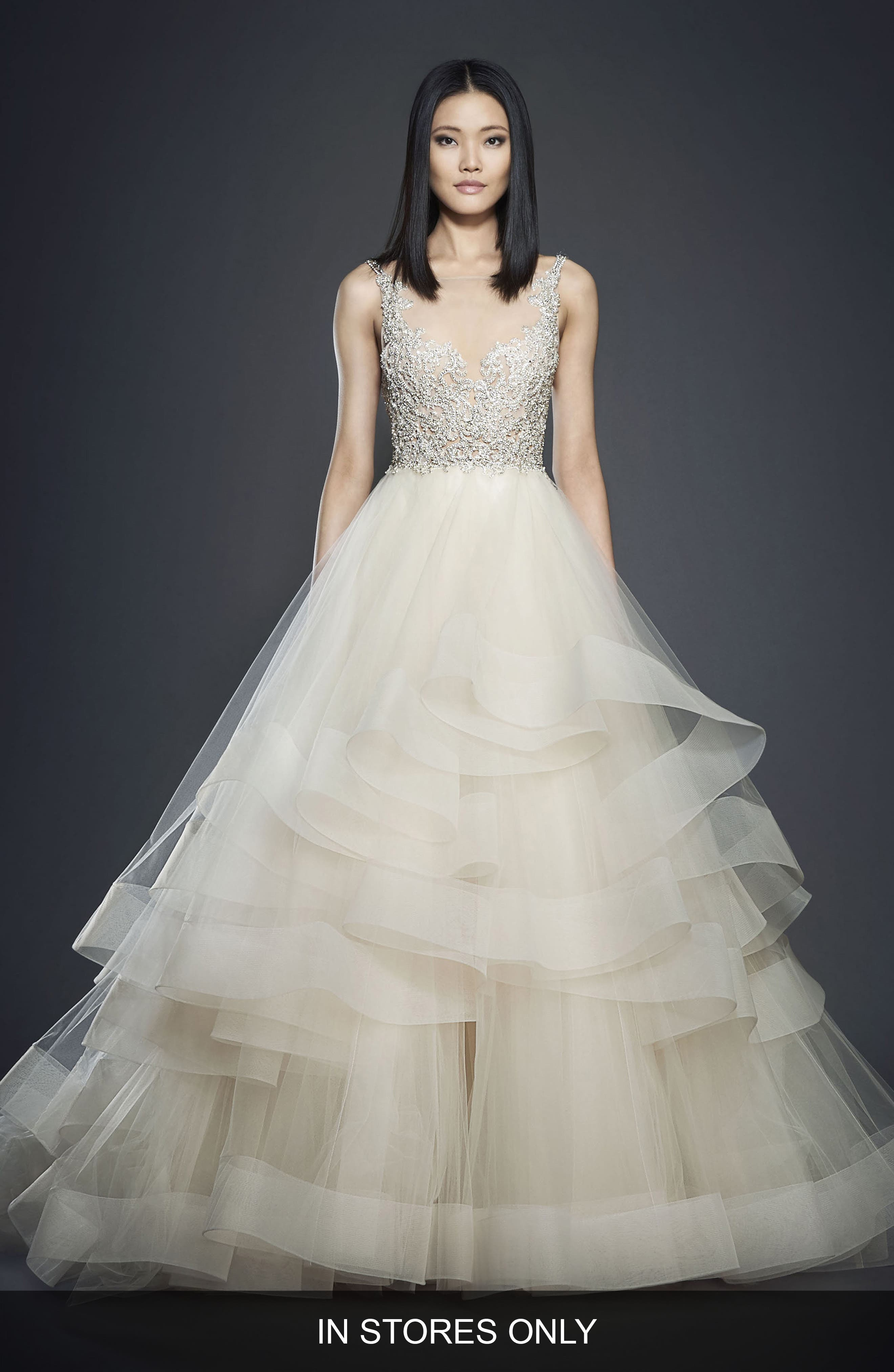 Crystal Embellished Layered Organza Ballgown,                             Alternate thumbnail 2, color,                             Champagne