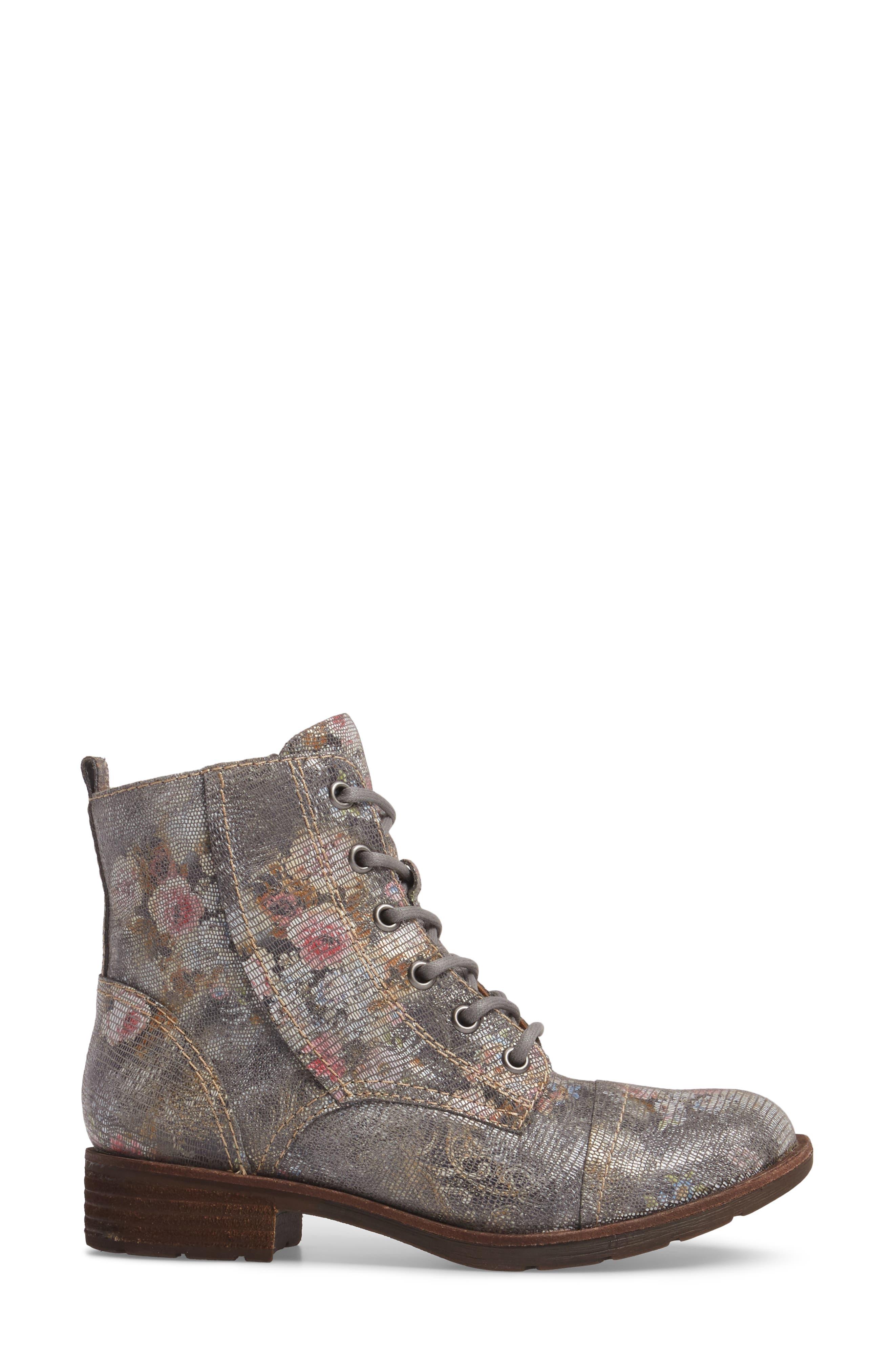 Belton Cap Toe Combat Boot,                             Alternate thumbnail 3, color,                             Grey Leather