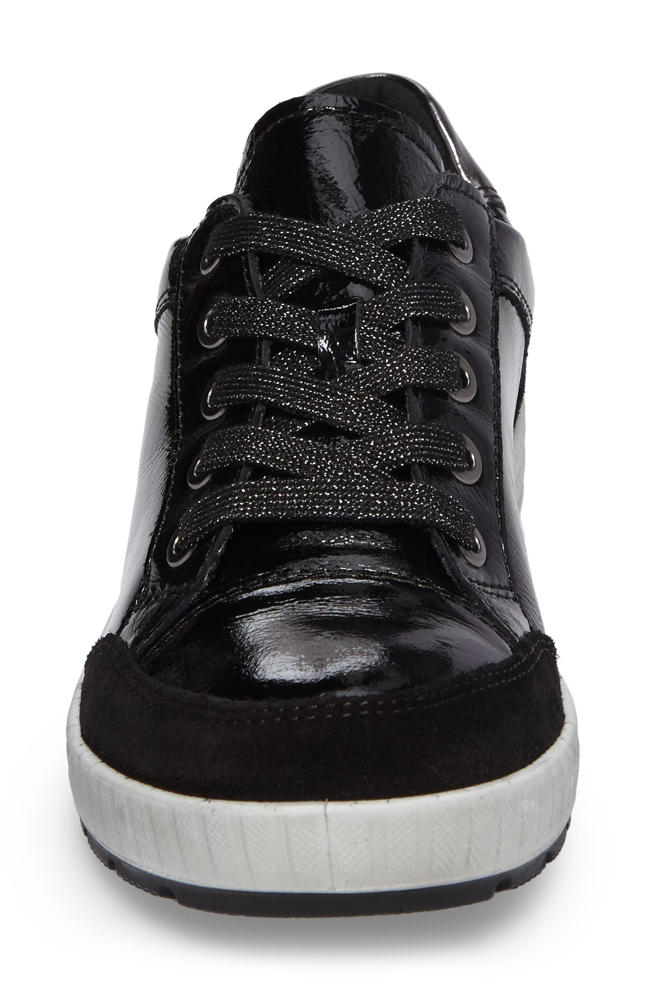 Nicole Sneaker,                             Alternate thumbnail 4, color,                             Black Leather