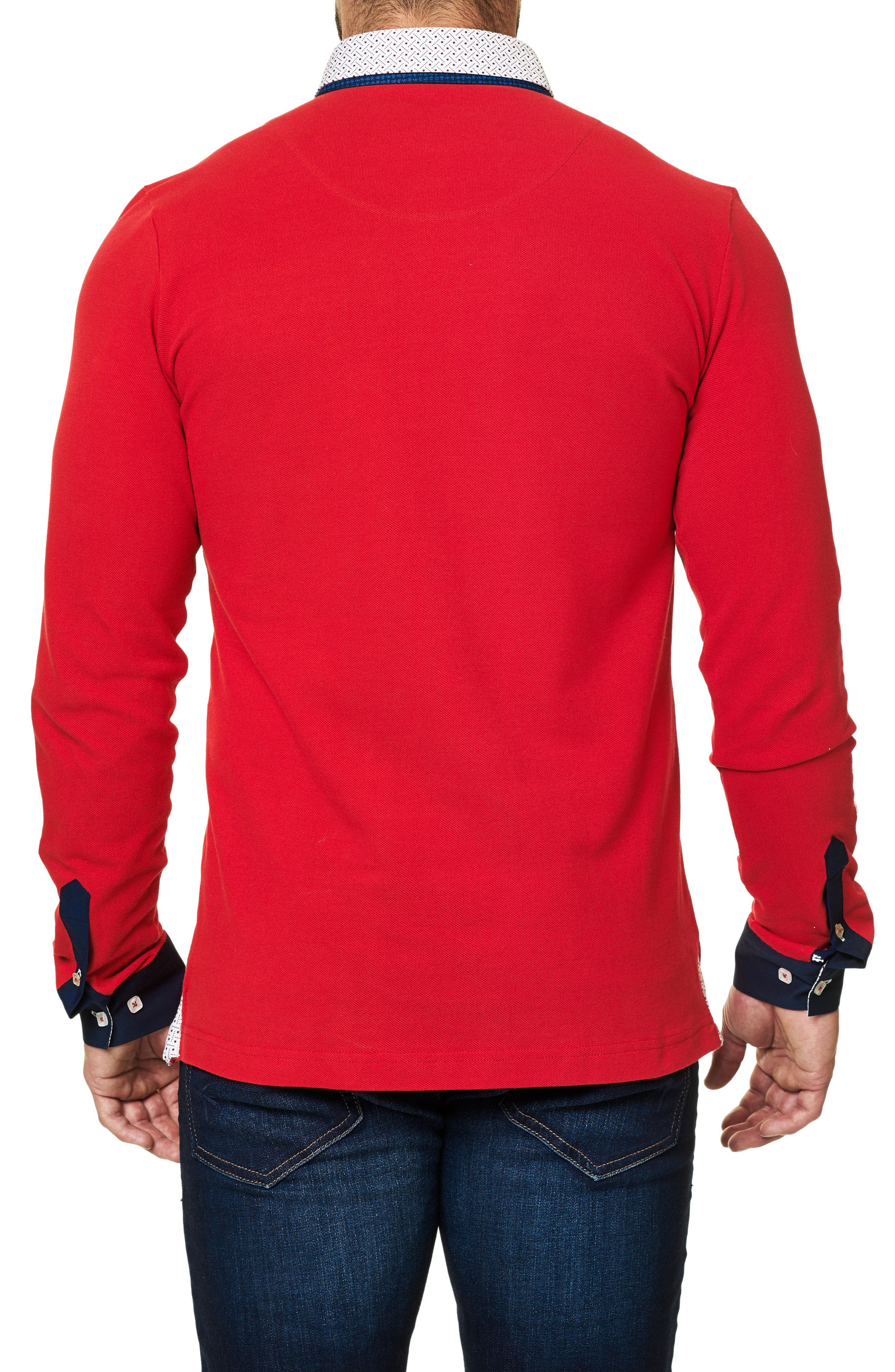 Long Sleeve Polo,                             Alternate thumbnail 2, color,                             Medium Red