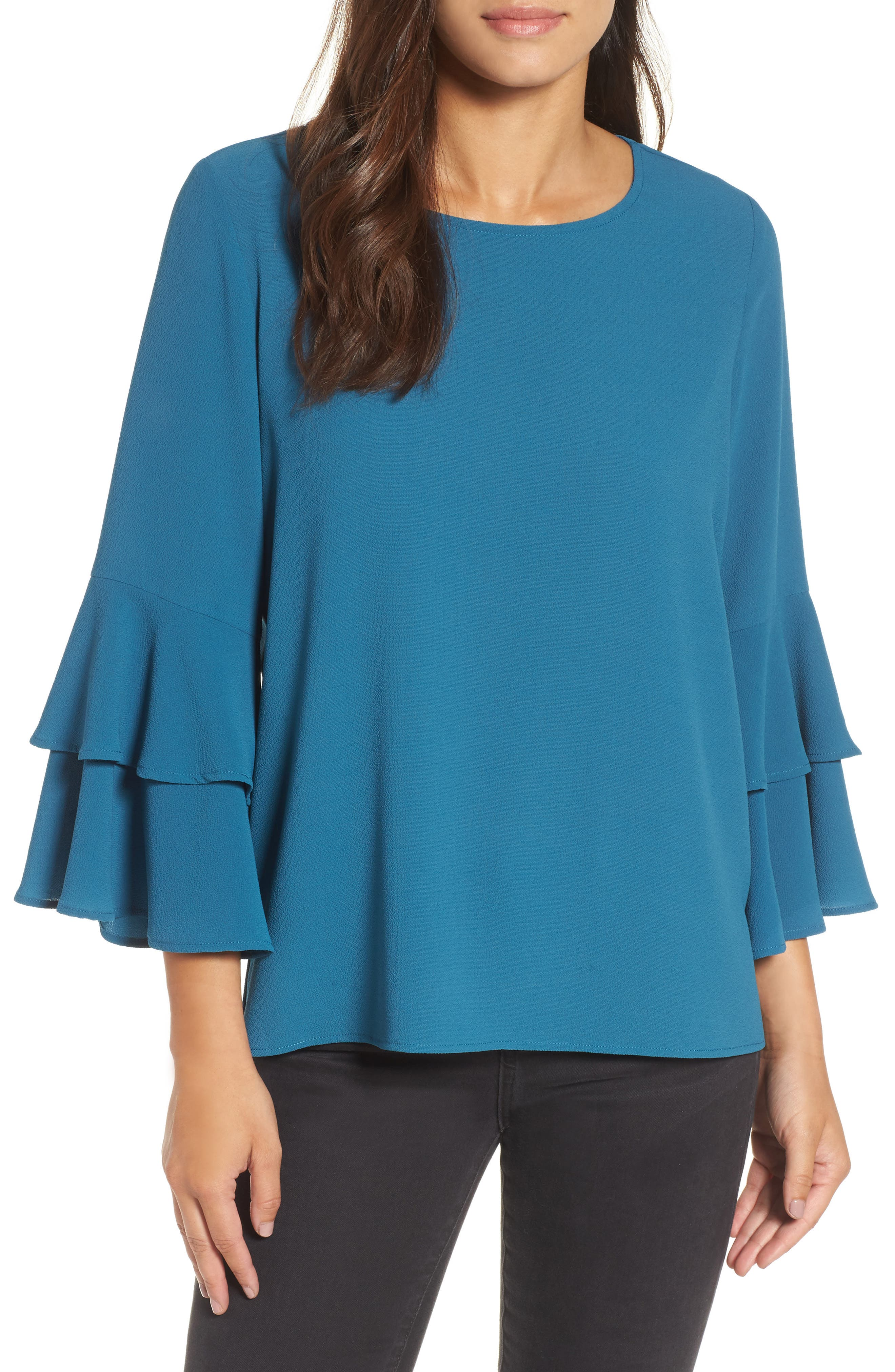 Ruffle Bell Sleeve High/Low Tunic,                             Main thumbnail 1, color,                             Peacock Teal