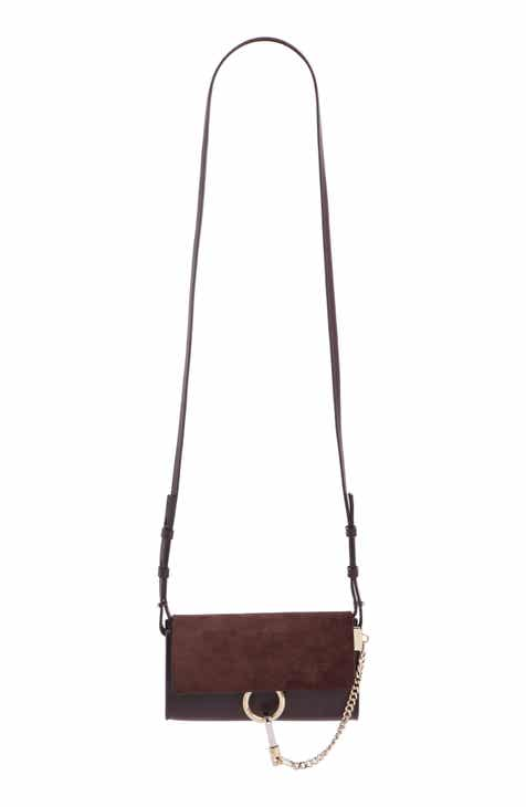 2726a3c0bf Chloé Mini Faye Suede   Leather Wallet on a Chain