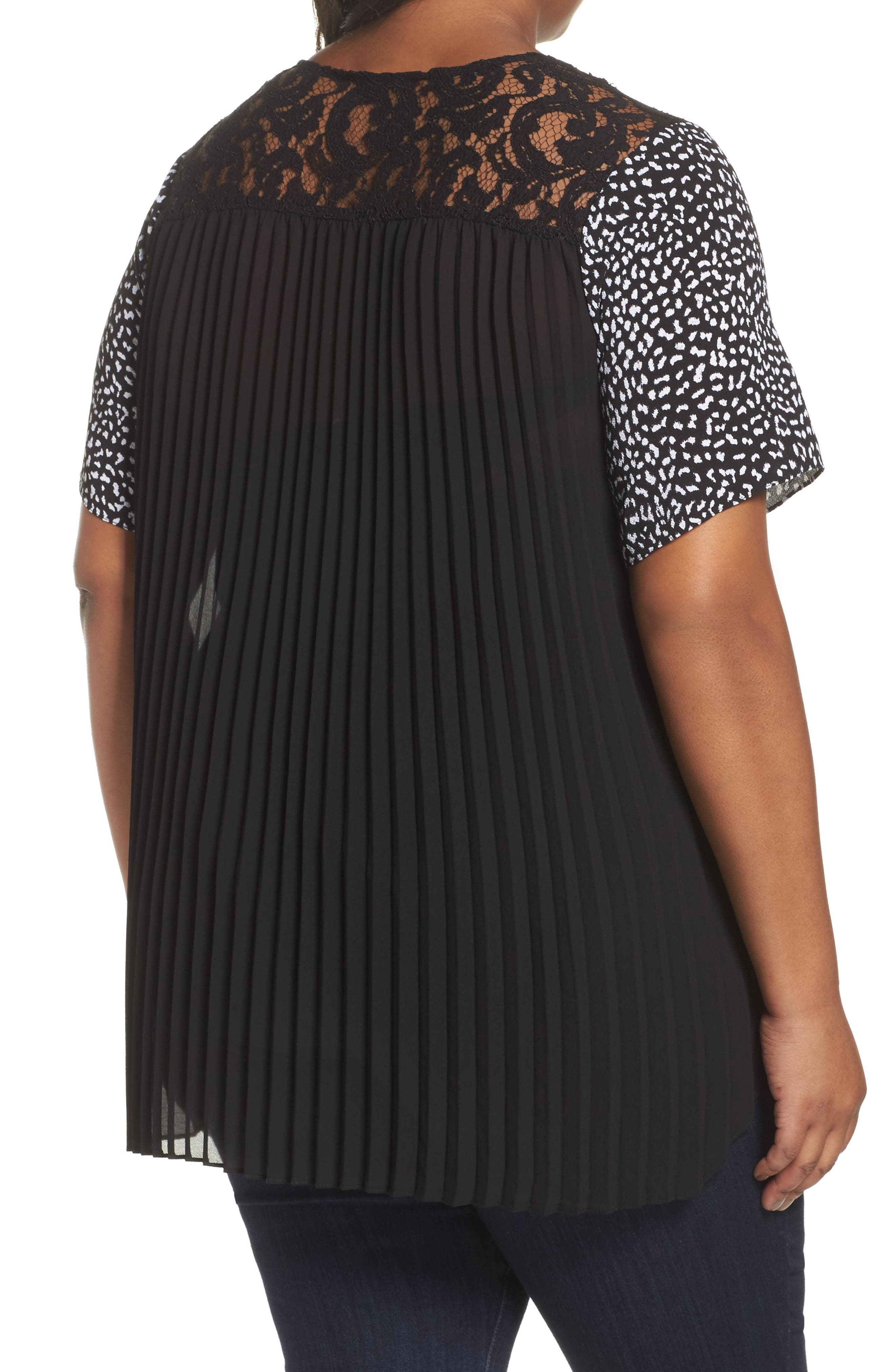 Alternate Image 2  - MICHAEL Michael Kors Lace Yoke Pleated Back Top (Plus Size)