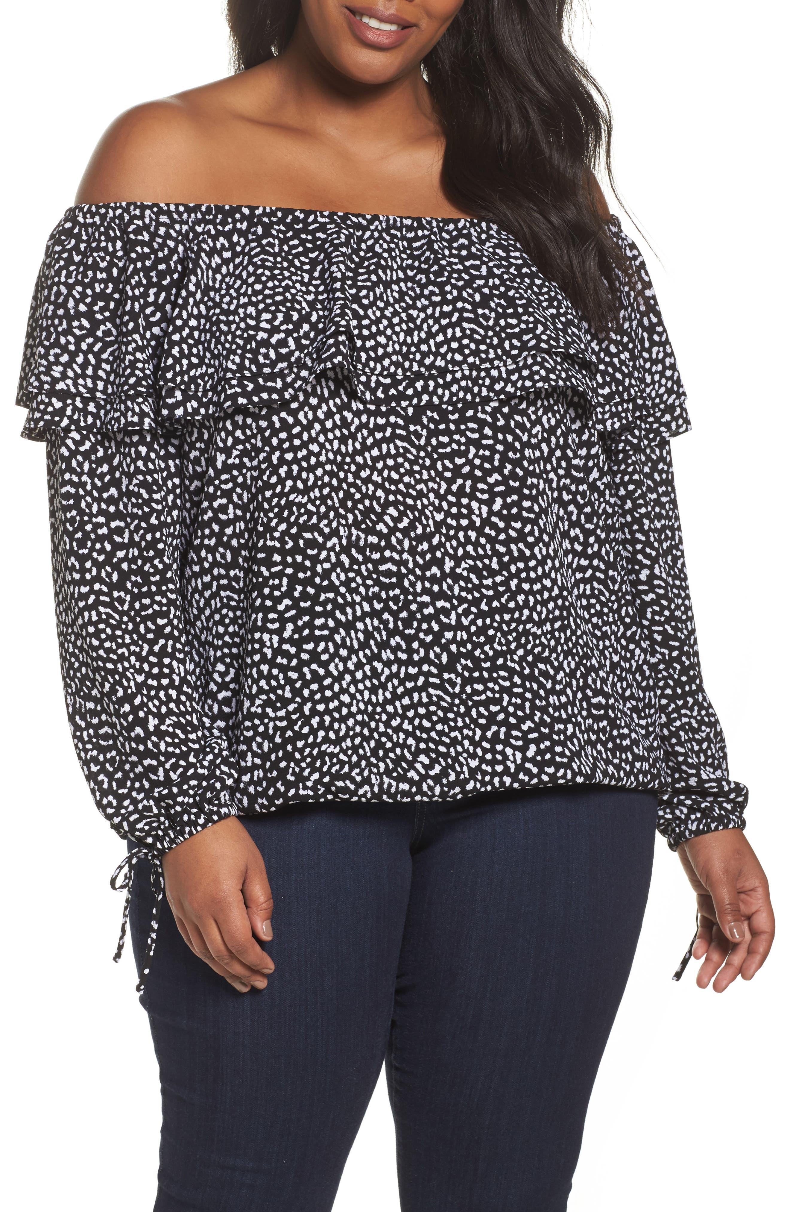 Cheetah Print Off the Shoulder Top,                         Main,                         color, Black