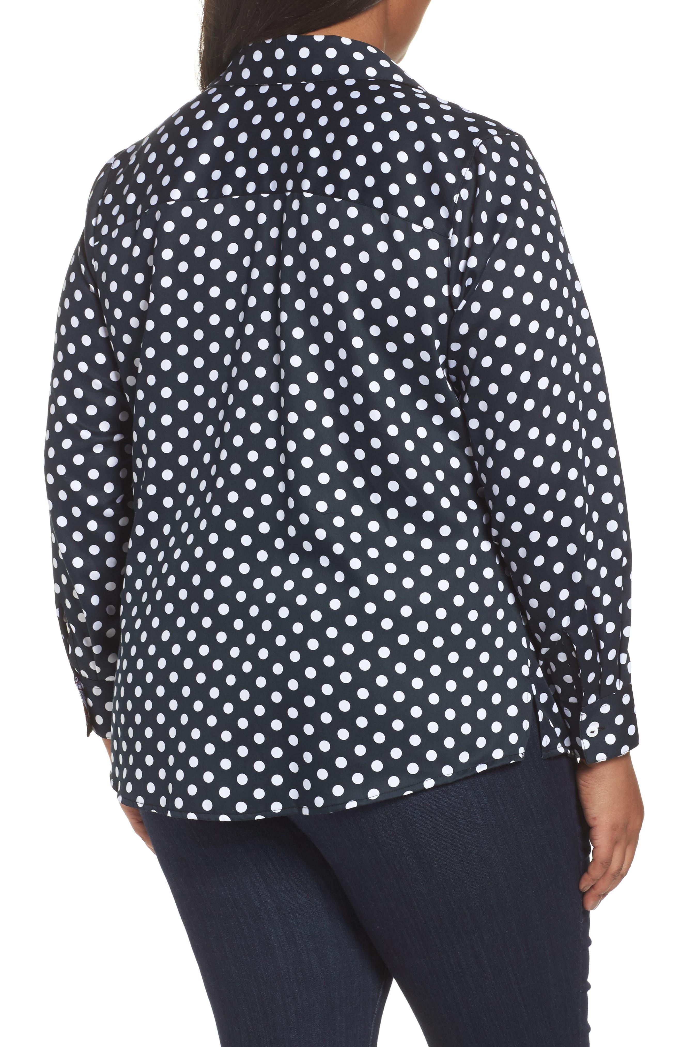 Ava Polka Dot Wrinkle-Free Shirt,                             Alternate thumbnail 2, color,                             Black